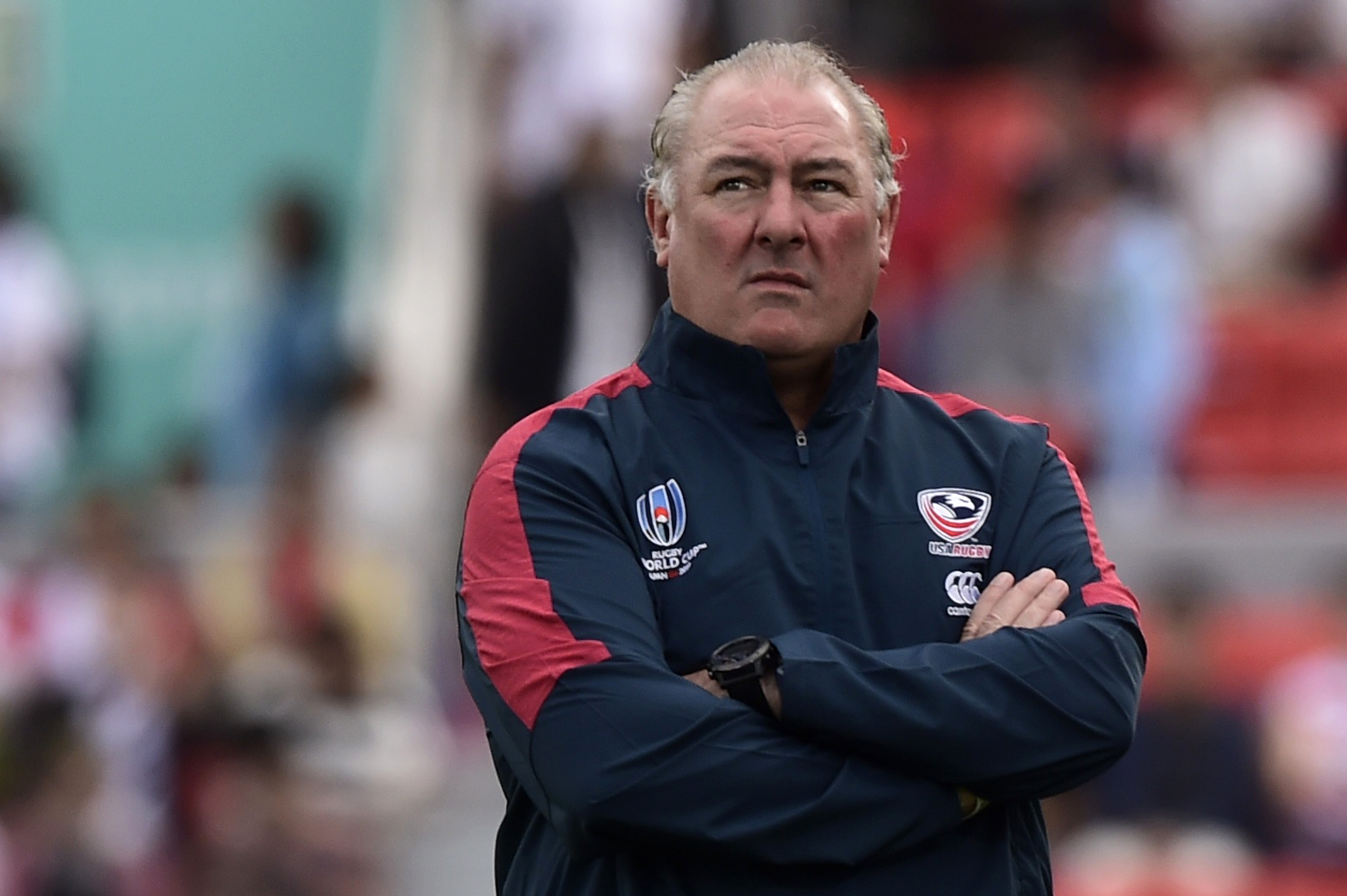 Rugby Union - Rugby World Cup 2019 - Pool C - United States v Tonga - Hanazono Rugby Stadium, Osaka, Japan - October 13, 2019. U.S. head coach Gary Gold reacts before the match REUTERS/Rebecca Naden