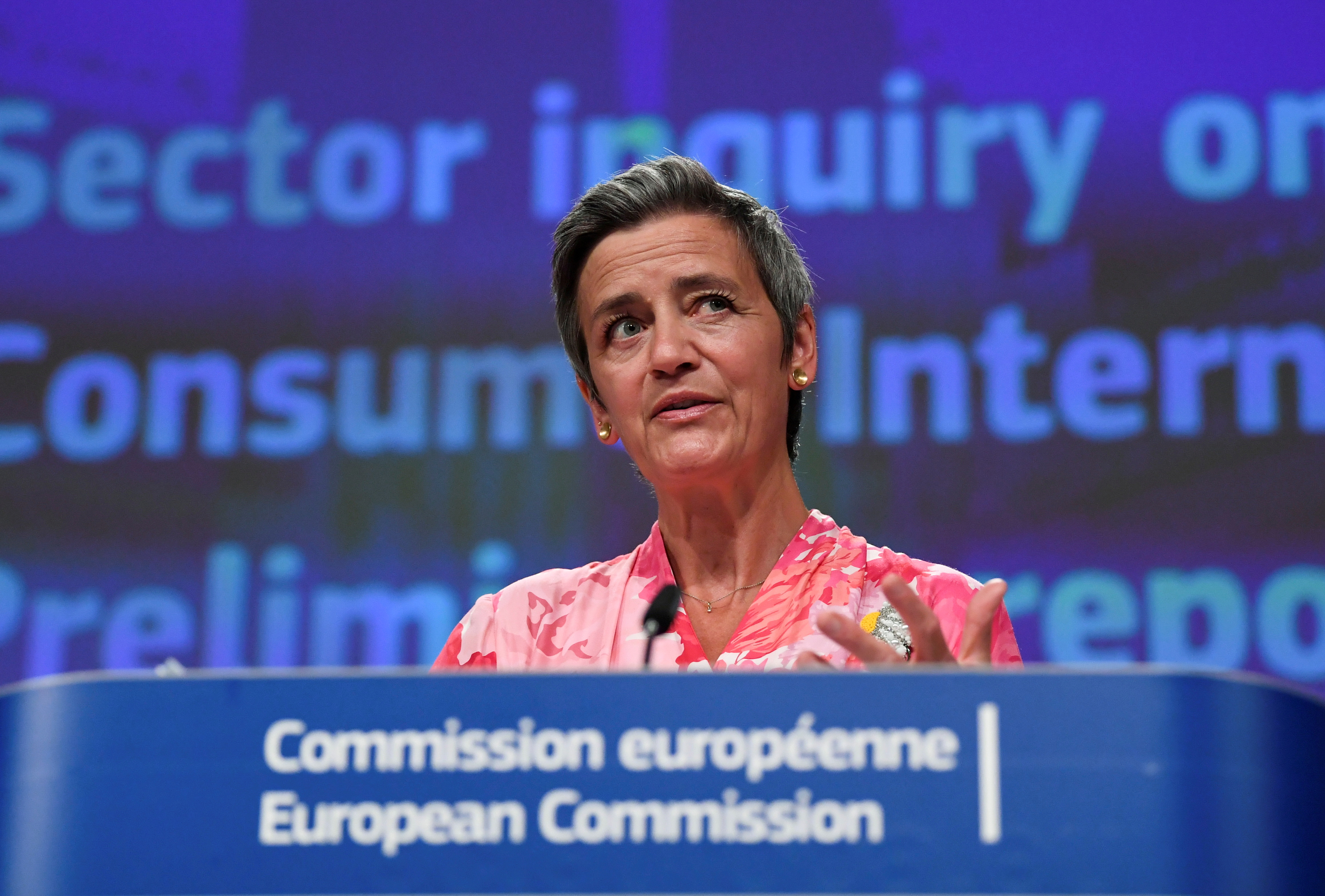 European Commissioner Margrethe Vestager speaks during a news conference on a competition sector inquiry at the EU headquarters in Brussels, Belgium June 9, 2021. John Thys/Pool via REUTERS/File Photo