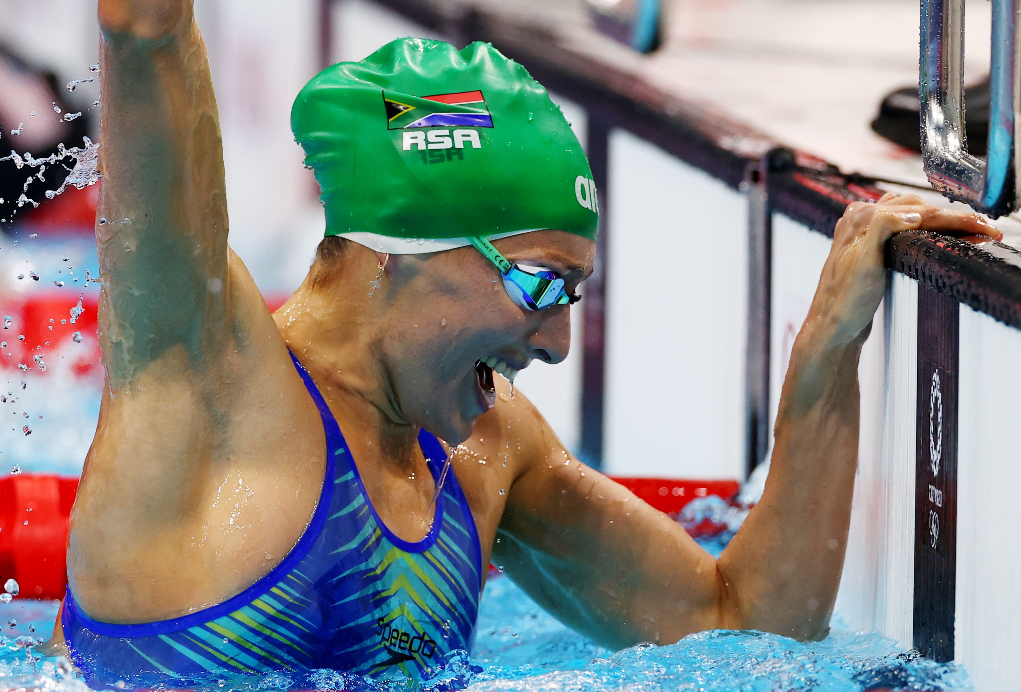 Tokyo 2020 Olympics - Swimming - Women's 200m Breaststroke - Final  - Tokyo Aquatics Centre - Tokyo, Japan - July 30, 2021. Tatjana Schoenmaker of South Africa reacts after setting a new world record to win the gold medal REUTERS/Stefan Wermuth