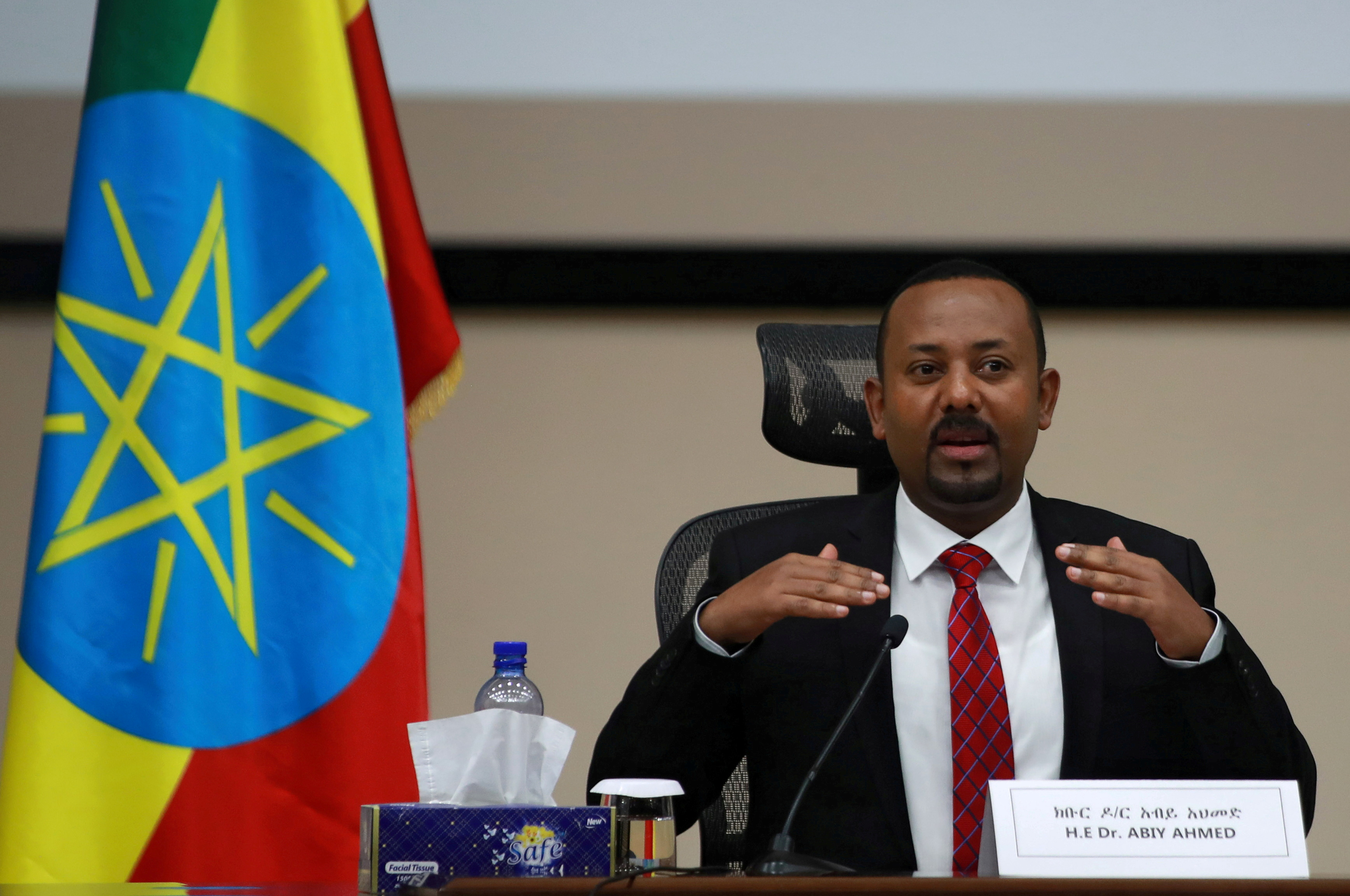 Ethiopia's Prime Minister Abiy Ahmed speaks during a question and answer session with lawmakers in Addis Ababa, Ethiopia, November 30, 2020. REUTERS/Tiksa Negeri