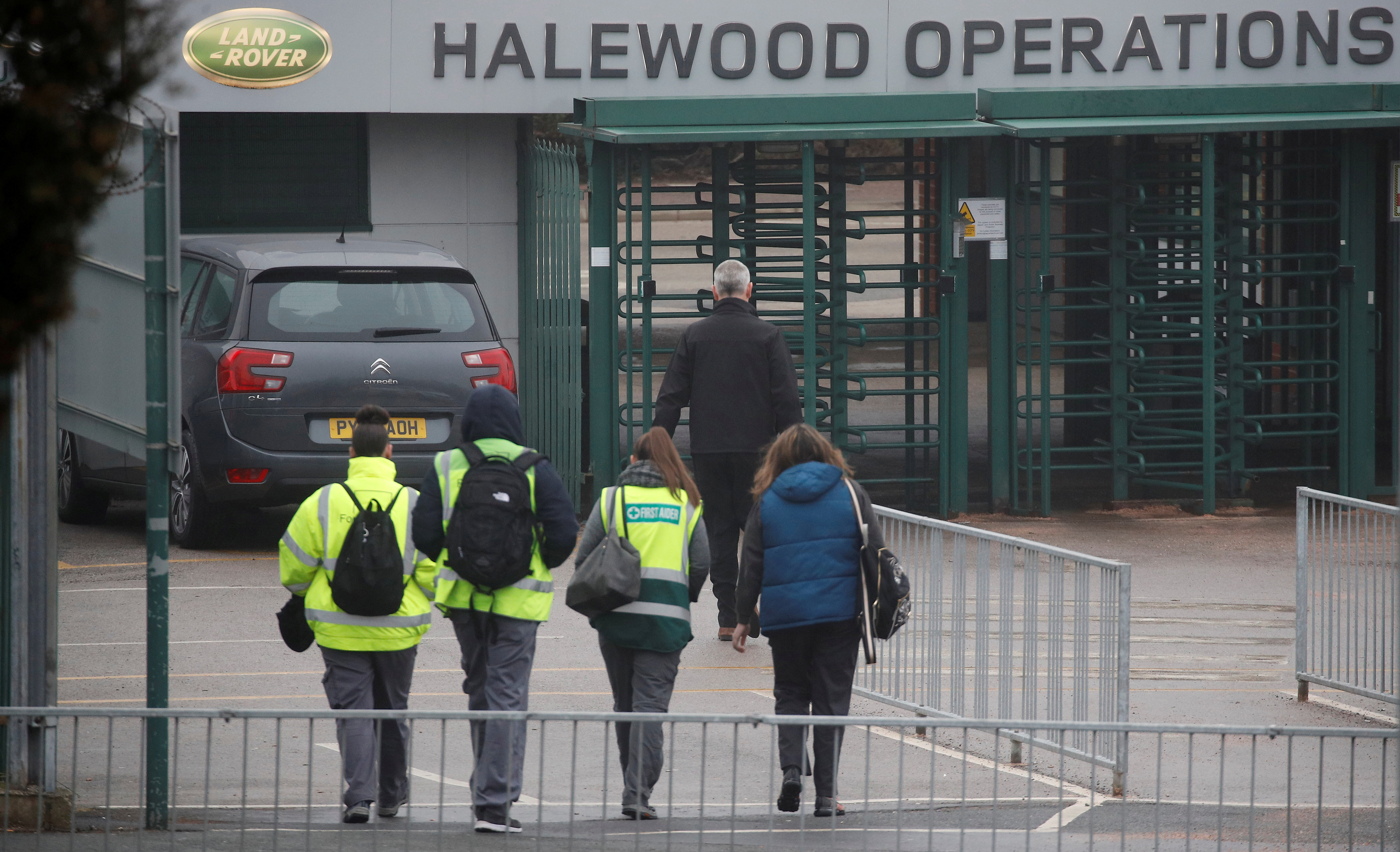 Workers arrive at Jaguar Land Rover's Halewood Plant in Liverpool, Britain, January 10, 2019. REUTERS/Phil Noble