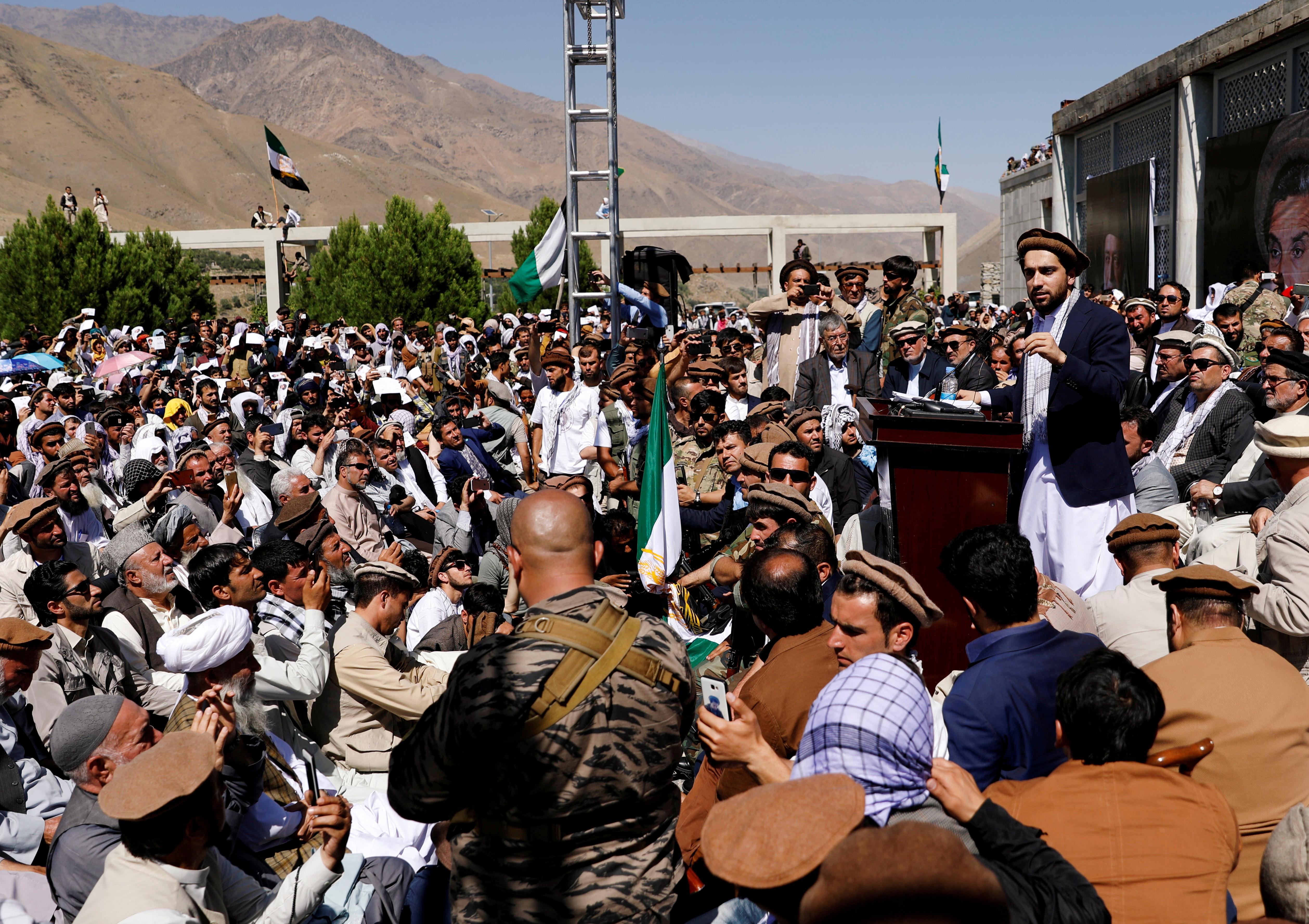 Ahmad Massoud, son of the slain hero of the anti-Soviet resistance Ahmad Shah Massoud, speaks to his supporters in Bazarak, Panjshir province Afghanistan September 5, 2019. REUTERS/Mohammad Ismail
