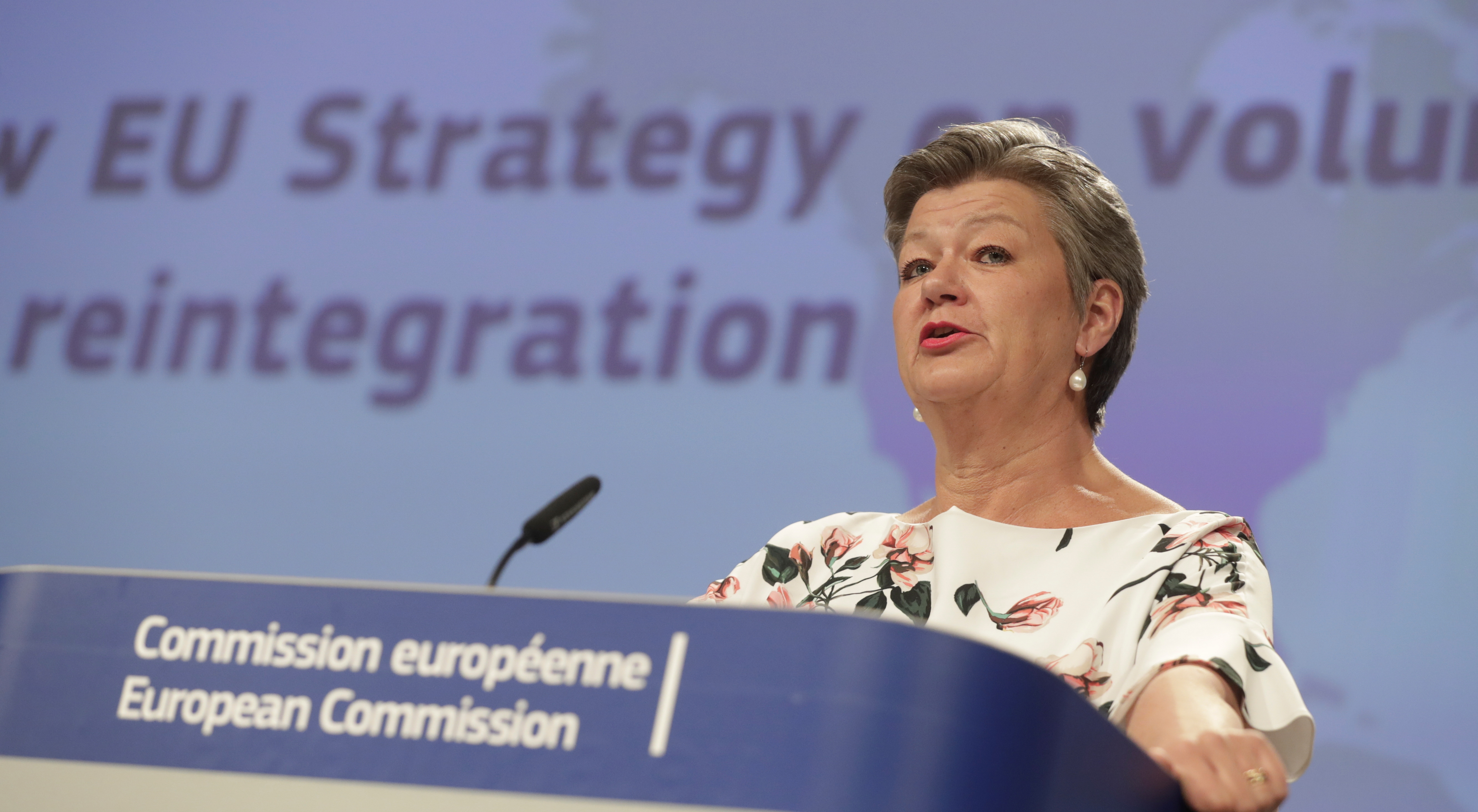 European Commissioner for Home Affairs, Ylva Johansson speaks during a press conference on EU Strategy on sustainable return and reintegration of illegal migrants in Europe, in Brussels, Belgium, April 27, 2021. Stephanie Lecocq/Pool via REUTERS