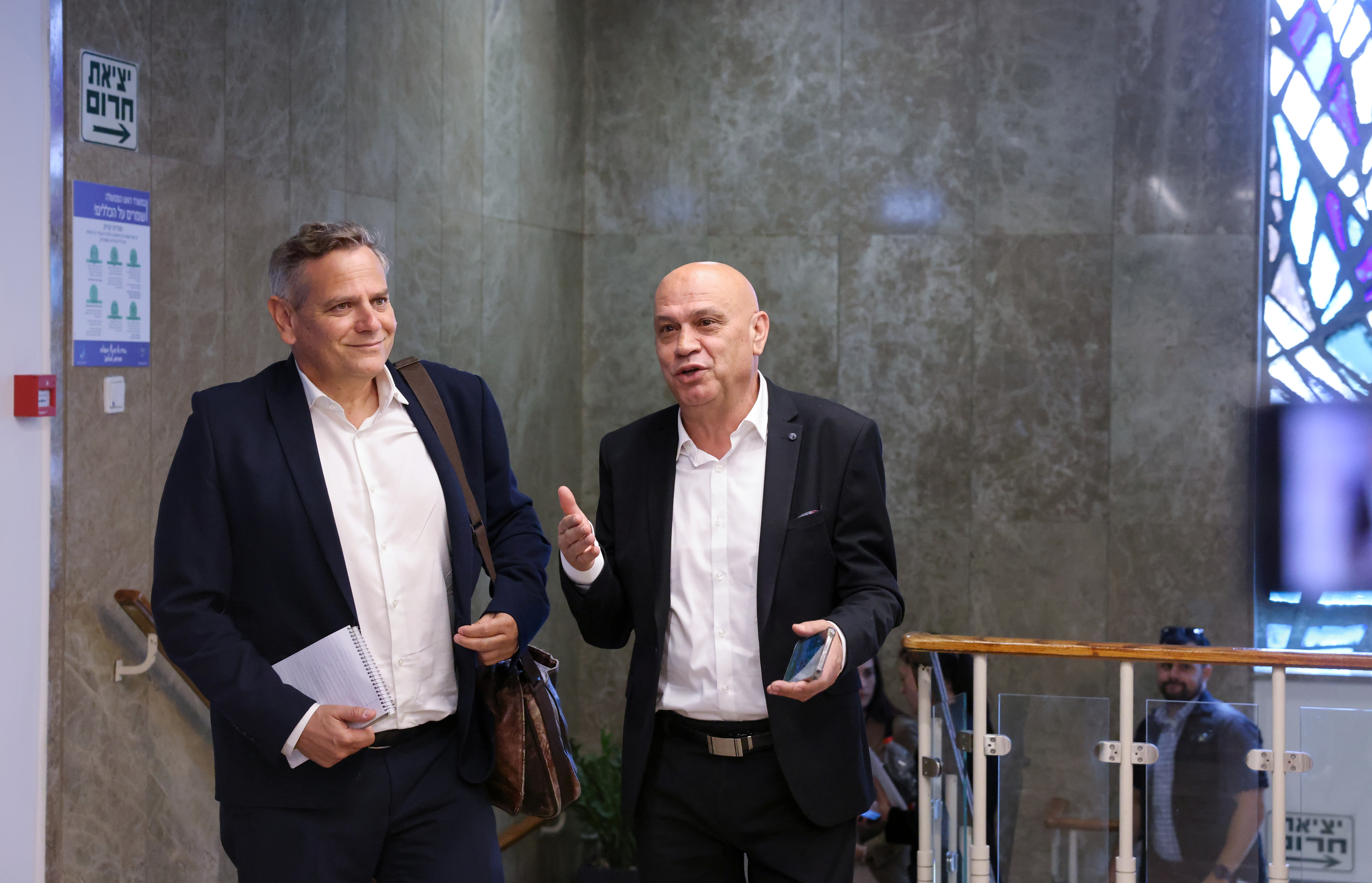Israeli Ministers of Health Nitzan Horowitz and Regional Cooperation Issawi Frej arrive to attend the first weekly cabinet meeting of the new government in Jerusalem June 20, 2021. Emmanuel Dunand/Pool via REUTERS