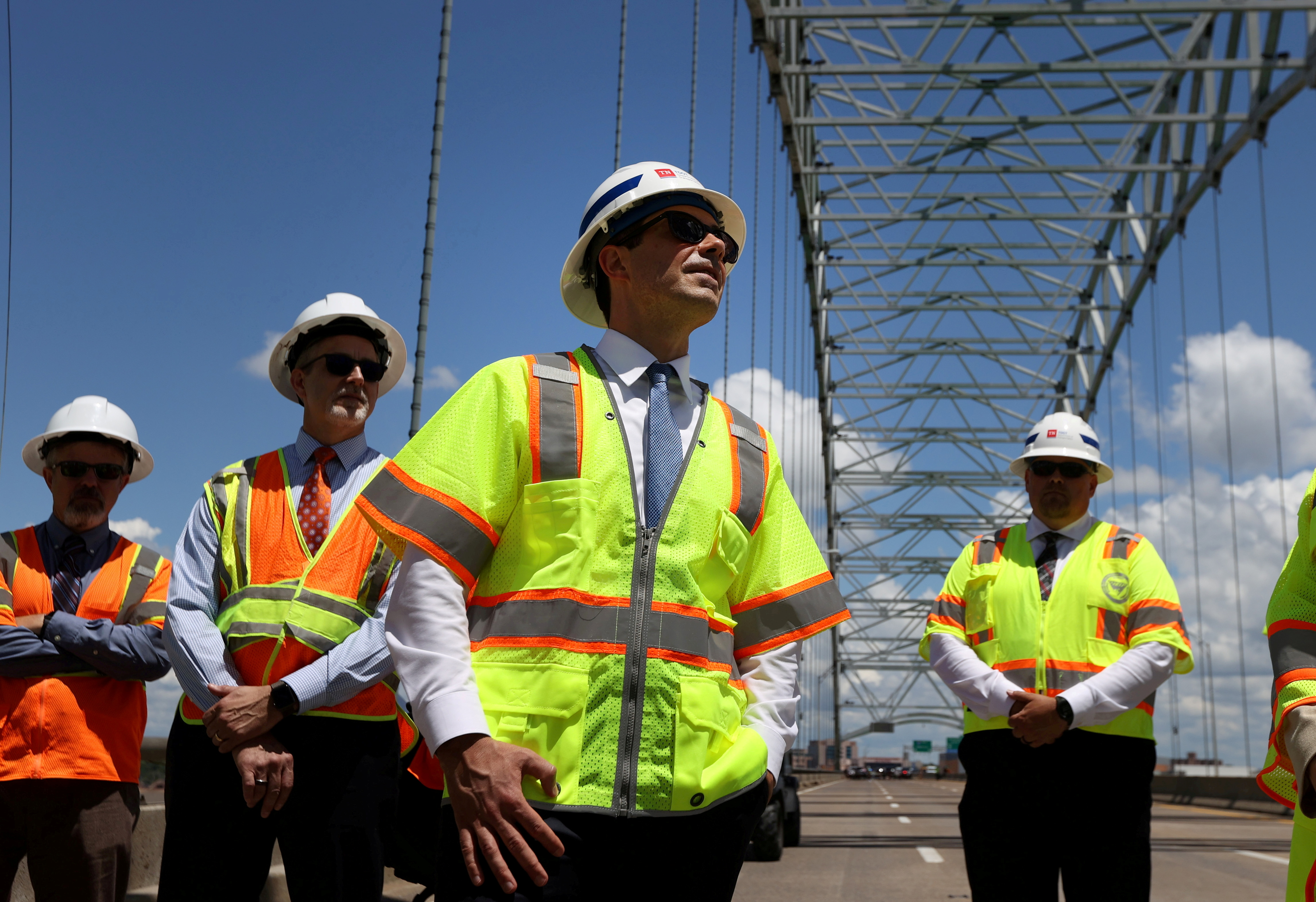 U.S. Secretary of Transportation Pete Buttigieg tours the closed Hernando De Soto bridge which carries Interstate 40 across the Mississippi River between West Memphis, Arkansas, and Memphis, Tennessee, U.S. June 3, 2021. Joe Rondone/The Commercial Appeal/Pool via REUTERS/File Photo