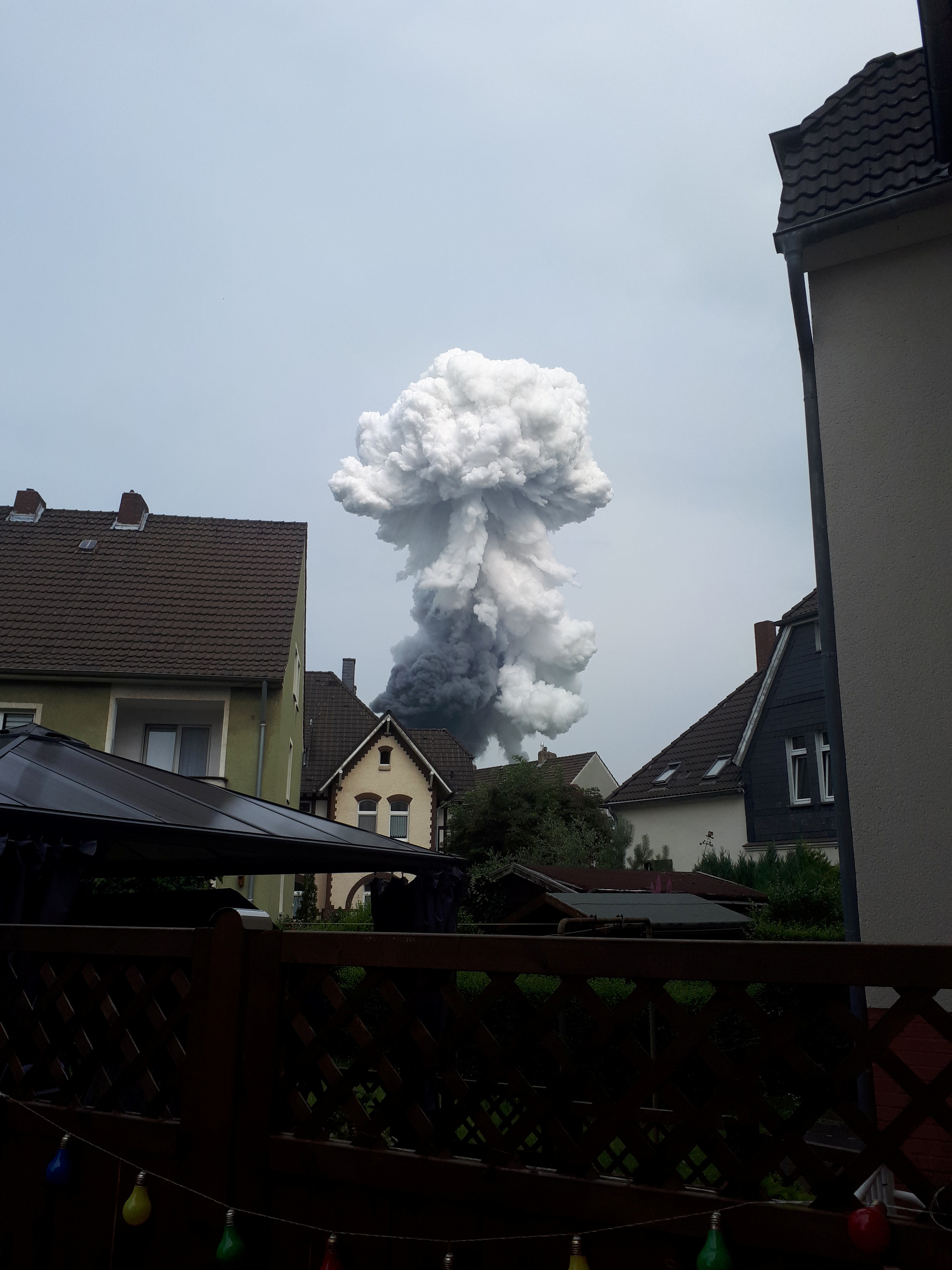 Smoke billows following an explosion in Wiesdorf, Leverkusen, Germany July 27, 2021, in this photo obtained from social media.   Anna Fross/via REUTERS