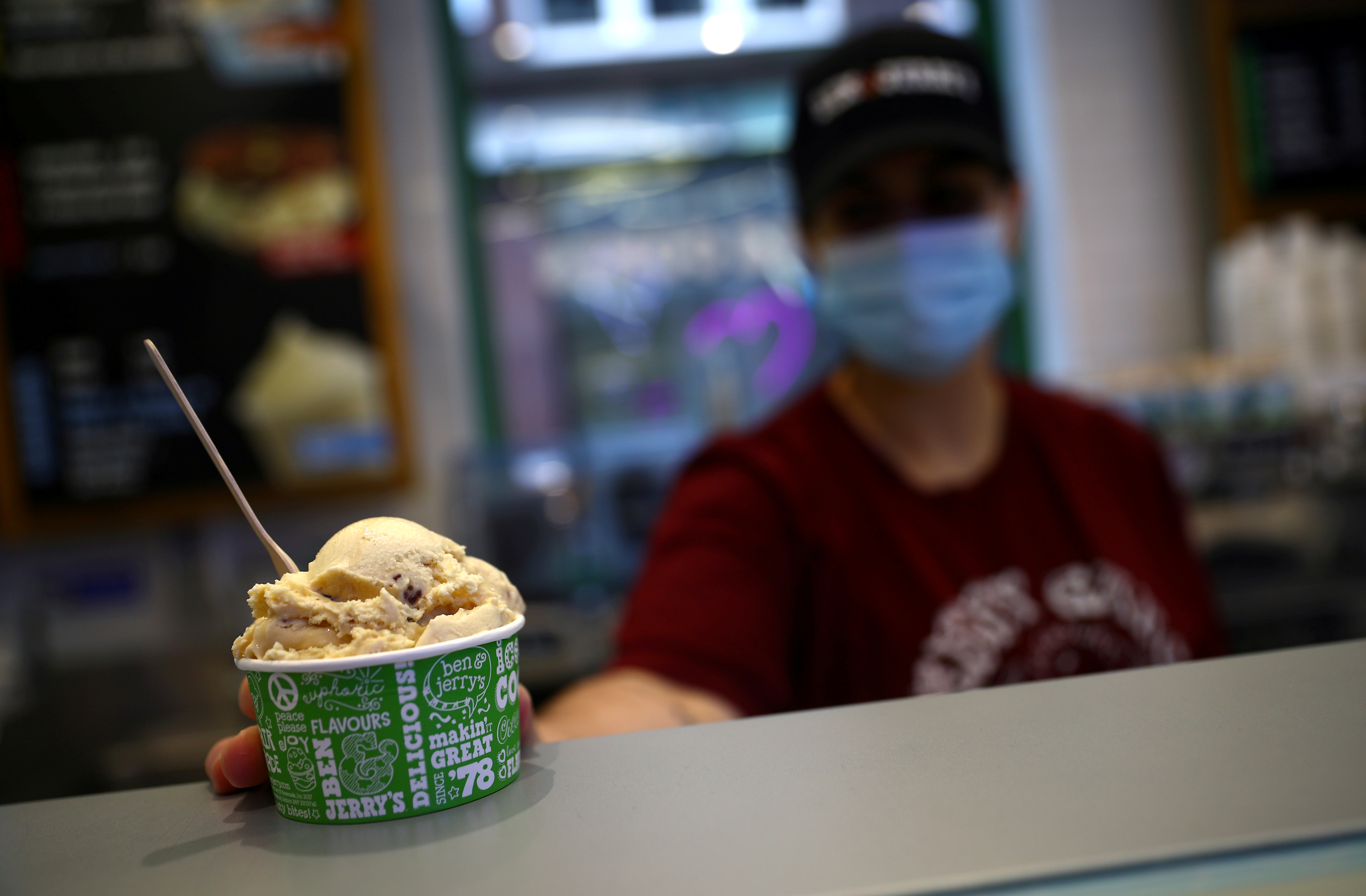 An ice cream of Ben & Jerry's, a Unilever brand, is seen at their shop in London, Britain, October 5, 2020. REUTERS/Hannah McKay/Files