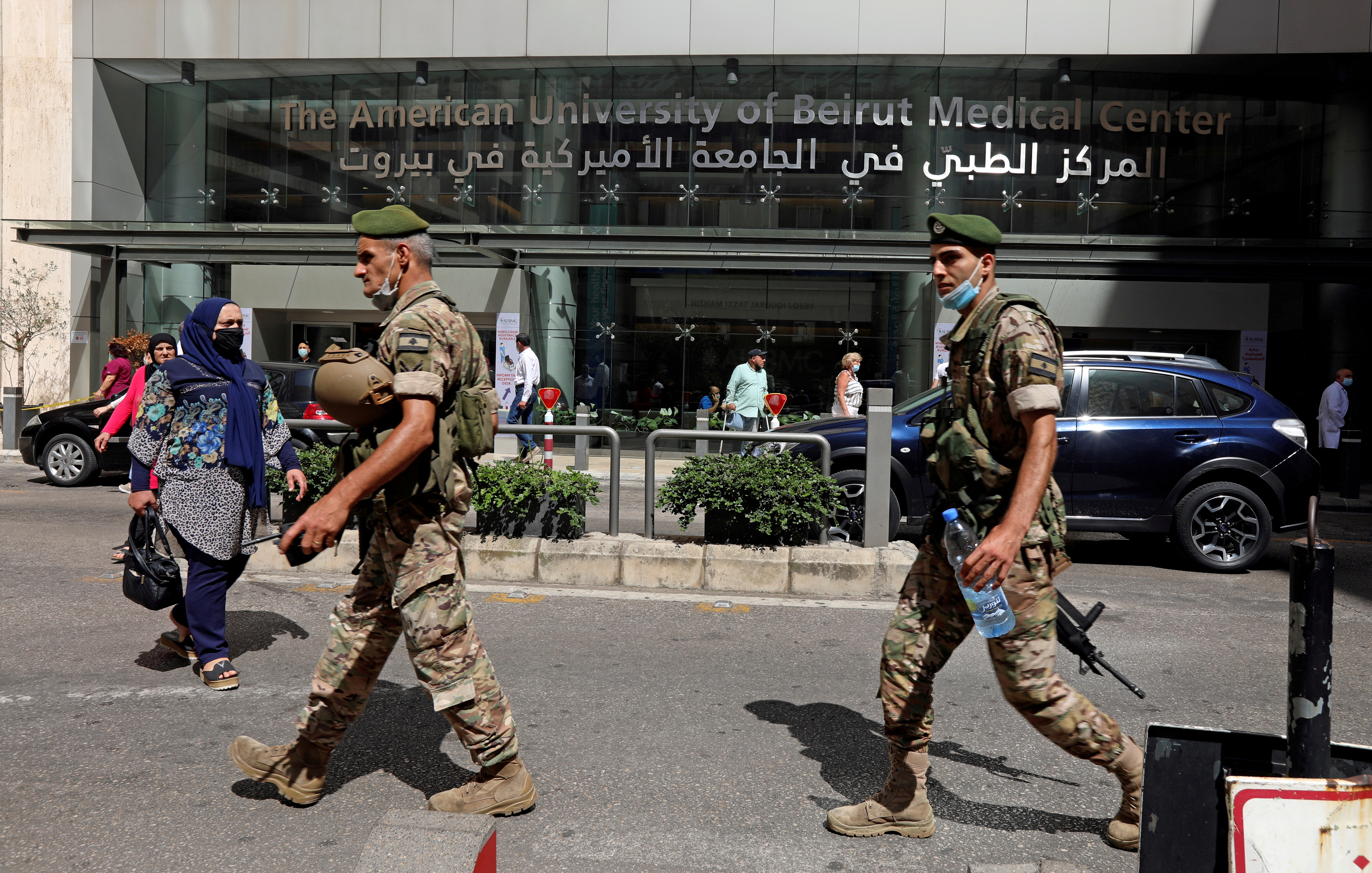 Lebanese army soldiers walk as they secure the area, outside American University of Beirut (AUB) medical centre in Beirut, Lebanon July 17, 2020. REUTERS/Mohamed Azakir/File Photo