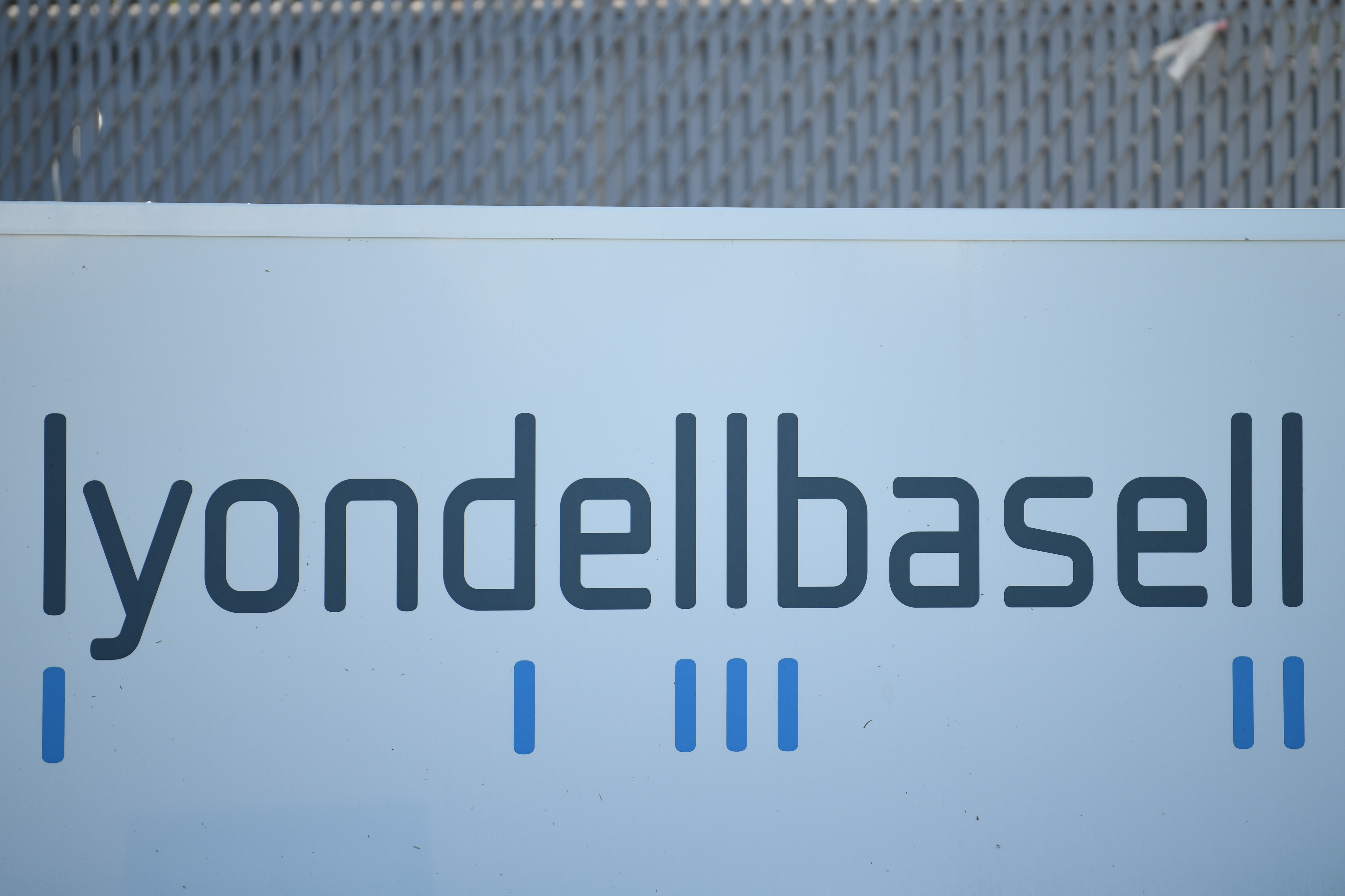 An entrance sign at the LyondellBasell refinery, located near the Houston Ship Channel, is seen in Houston, Texas, U.S., May 5, 2019.  REUTERS/Loren Elliott