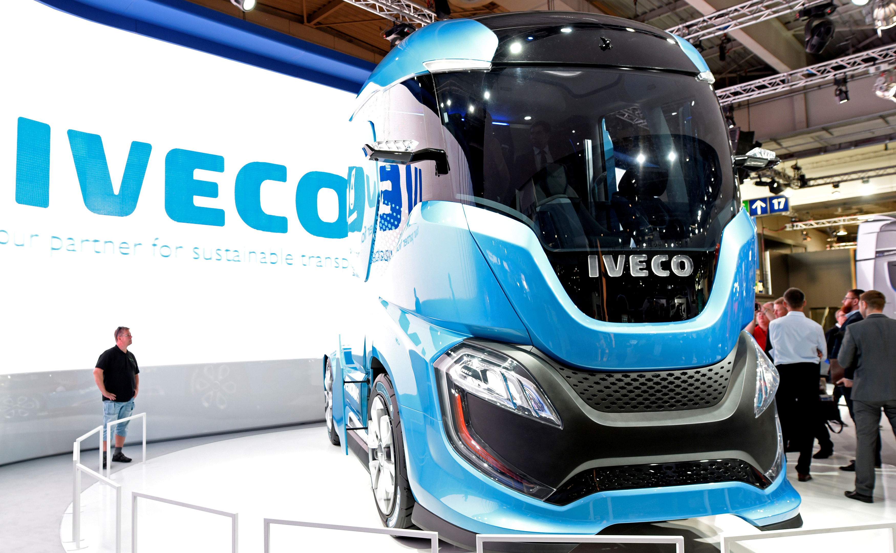 An Iveco truck is seen at the IAA Commercial Vehicles trade show in Hanover, Germany, September 22, 2016.  REUTERS/Fabian Bimmer/File Photo