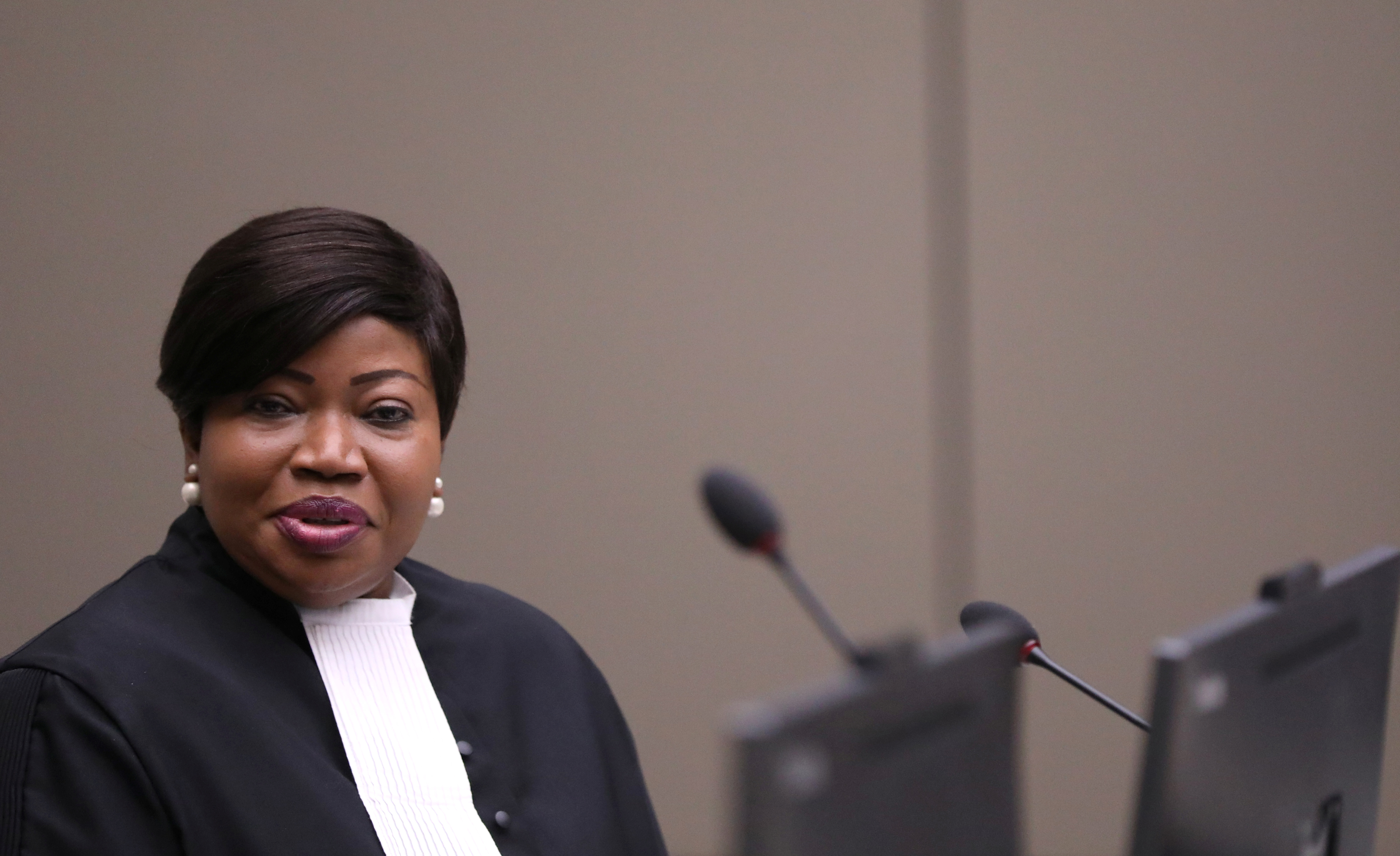 Public Prosecutor Fatou Bensouda attends the trial for Malian Islamist militant Al-Hassan Ag Abdoul Aziz Ag Mohamed Ag Mahmoud at the ICC (International Criminal Court) in the Hague, the Netherlands July 8, 2019. REUTERS/Eva Plevier/Pool