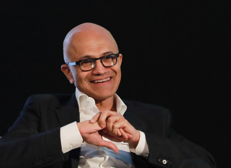 Satya Nadella, Chief Executive Officer of Microsoft, reacts as he attends Microsoft's 'Young Innovators' Summit' in New Delhi, India February 26, 2020. REUTERS/Anushree Fadnavis