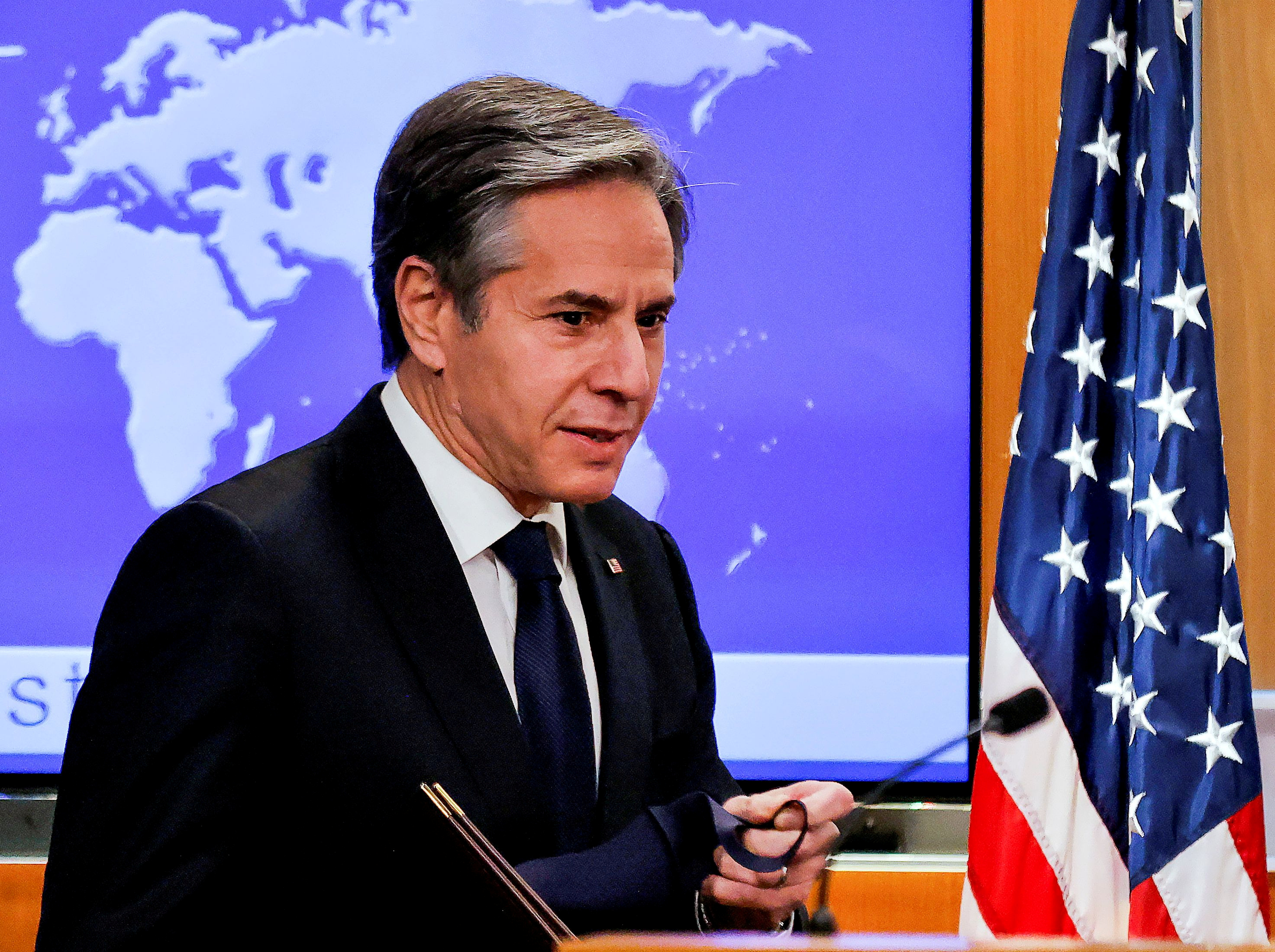 U.S. Secretary of State Antony Blinken begins his first press briefing at the State Department in Washington, U.S., January 27, 2021. REUTERS/Carlos Barria/Pool/File Photo