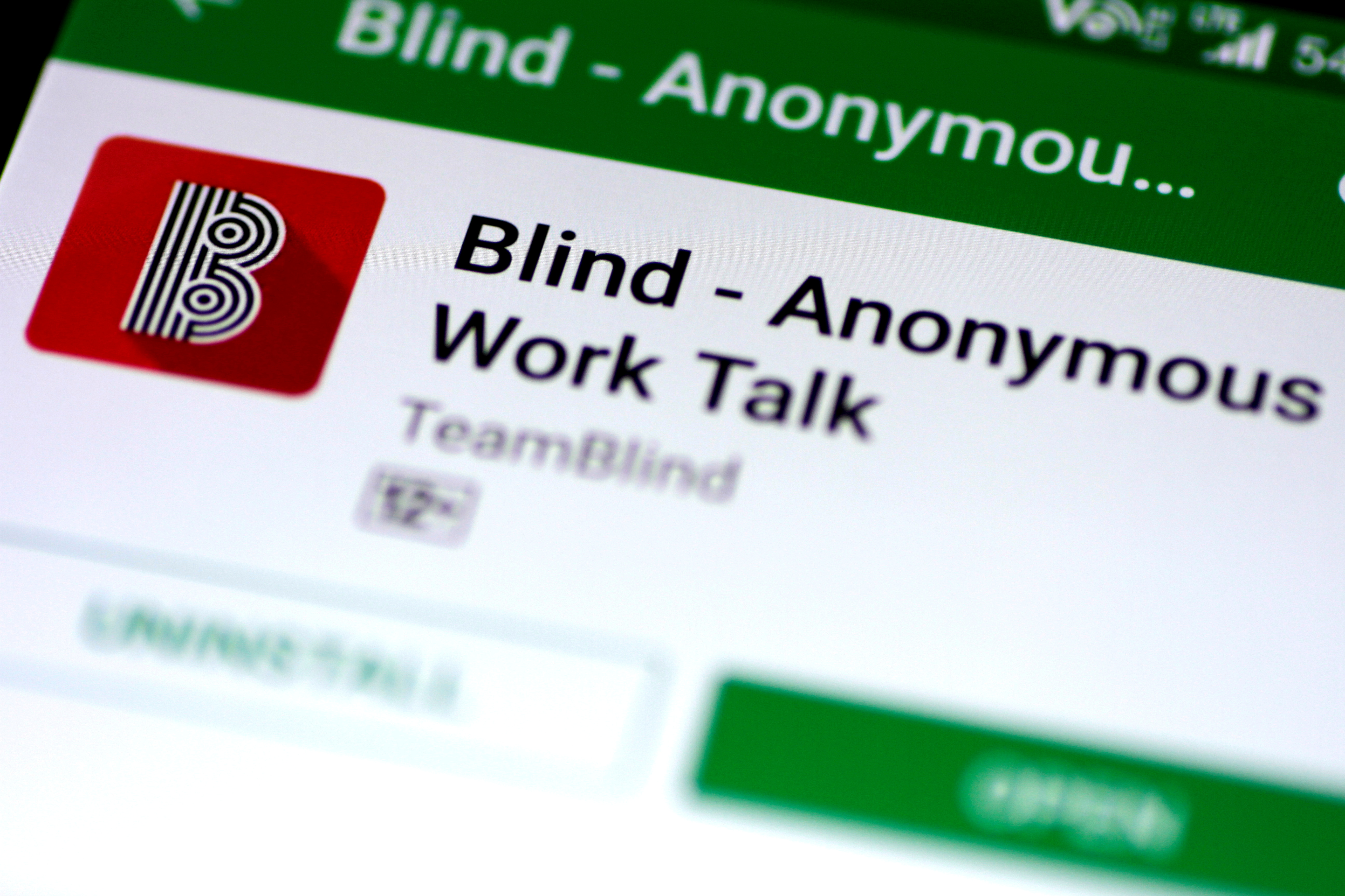 The Blind anonymous work talk application is seen in the Google Play store on a mobile phone in this illustration photo February 6, 2018.  REUTERS/Thomas White/Illustration/File Photo