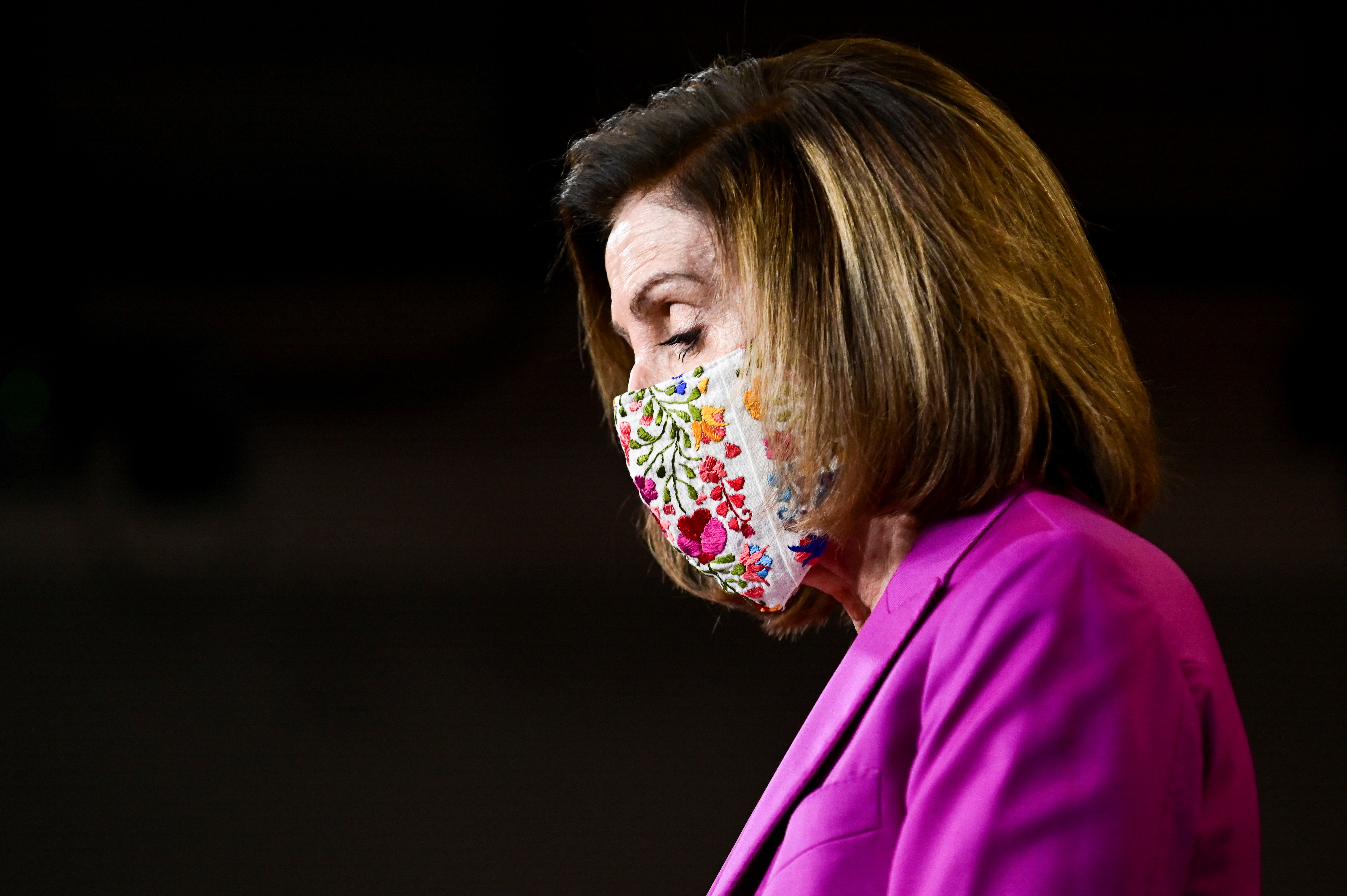 U.S. House Speaker Nancy Pelosi (D-CA) speaks to reporters a day after supporters of U.S. President Donald Trump occupied the Capitol, during a news conference in Washington, U.S., January 7, 2021. REUTERS/Erin Scott