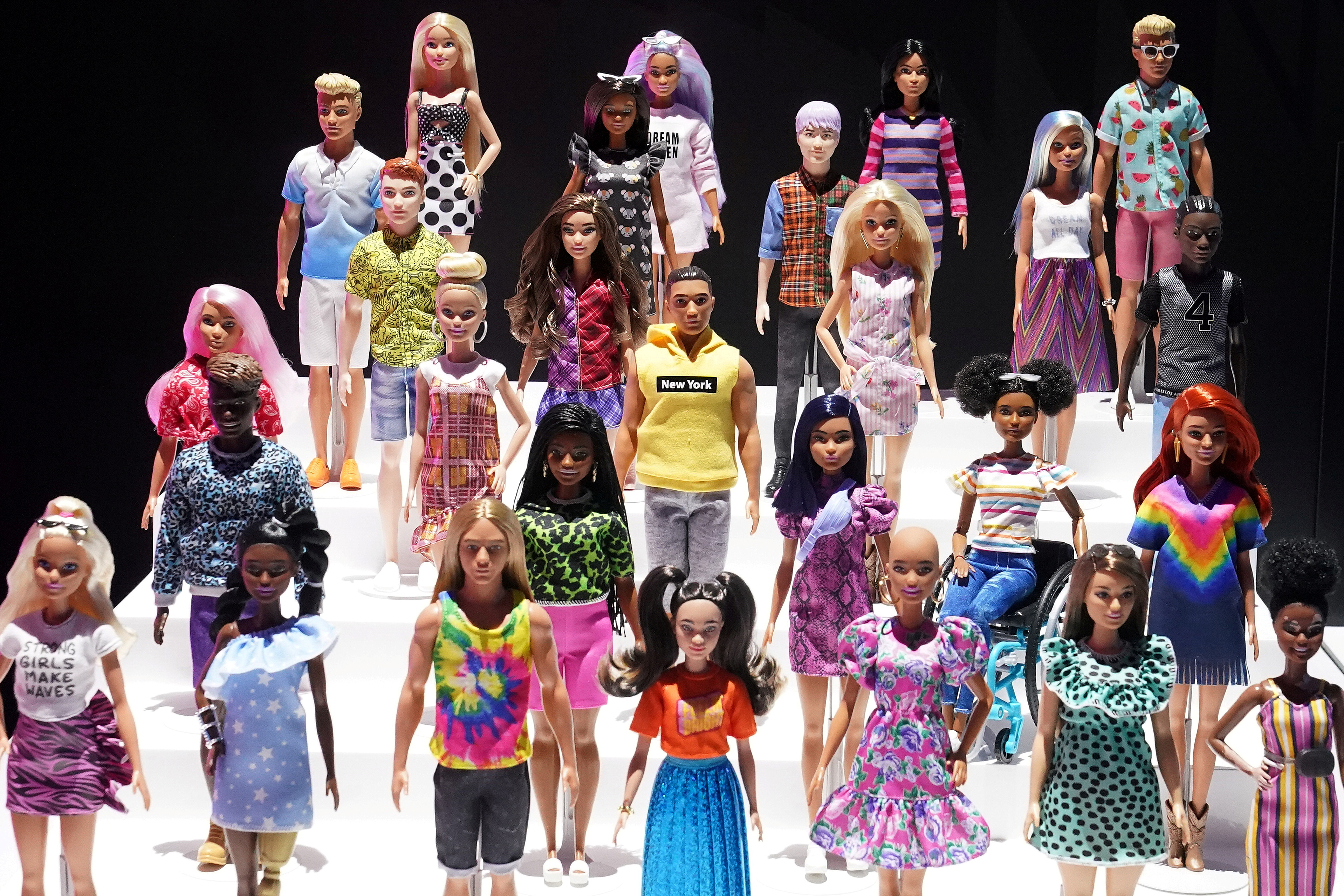 New Barbie dolls from Mattel are pictured in the Manhattan borough of New York City, New York, U.S., February 21, 2020. REUTERS/Carlo Allegri/File Photo