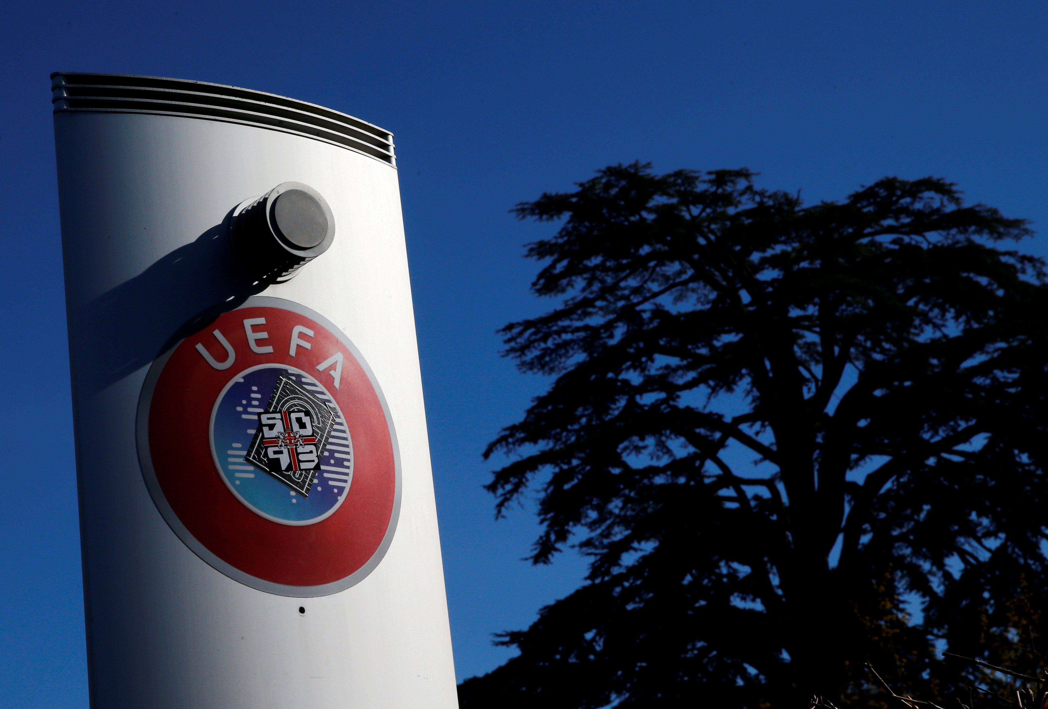 A logo is pictured outside the UEFA in Nyon, Switzerland, February 28, 2020. Picture taken February 28, 2020. REUTERS/Denis Balibouse