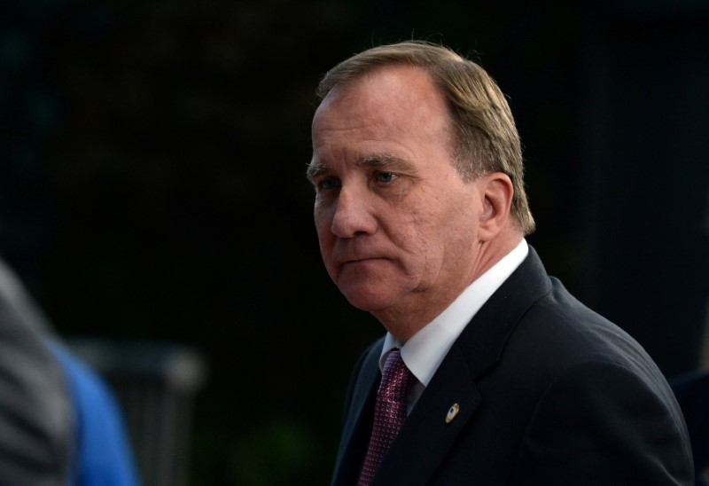 Swedish Prime Minister Stefan Lofven leaves a meeting at the EU summit, in Brussels, Belgium, July 21, 2020. REUTERS/Johanna Geron/Pool/File Photo