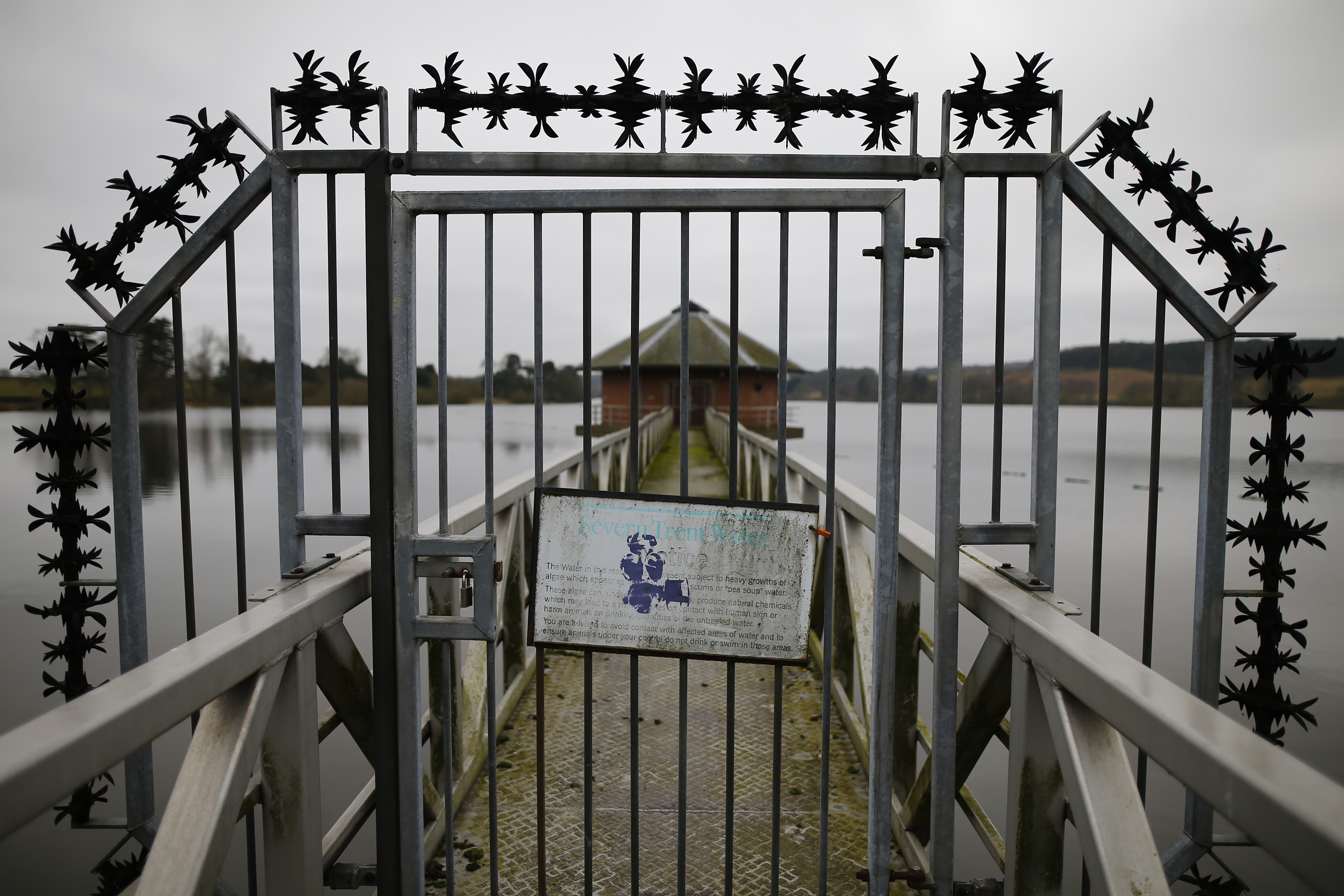 A sign hangs on a gate at Severn Trent Water's Cropston Reservoir, Britain March 18, 2016. REUTERS/Darren Staples