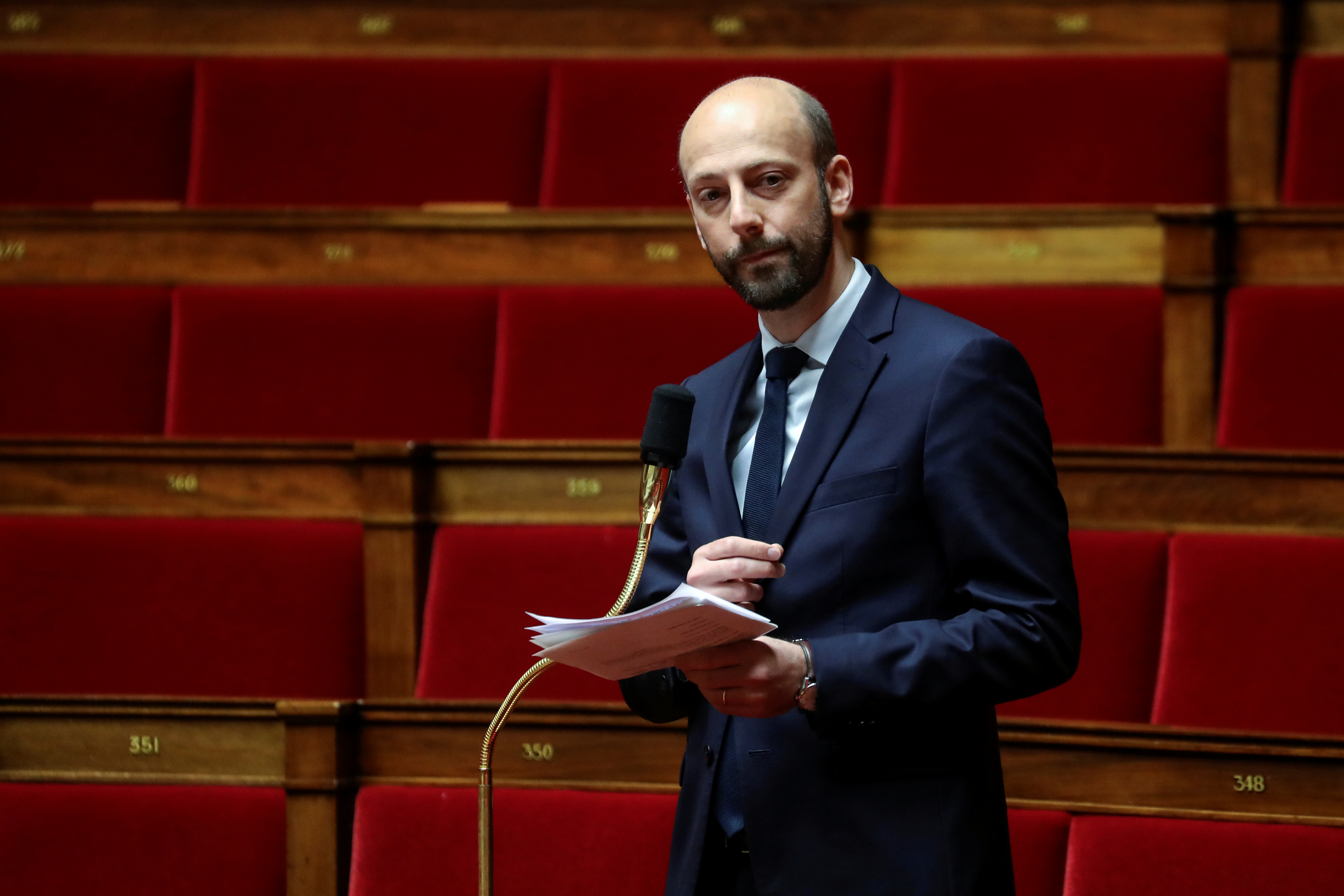 General delegate of La Republique En Marche (LREM) centre-right ruling party Stanislas Guerini takes part in a debate about the state of health emergency bill at the National Assembly in Paris, France March 21, 2020. Ludovic Marin/Pool via REUTERS
