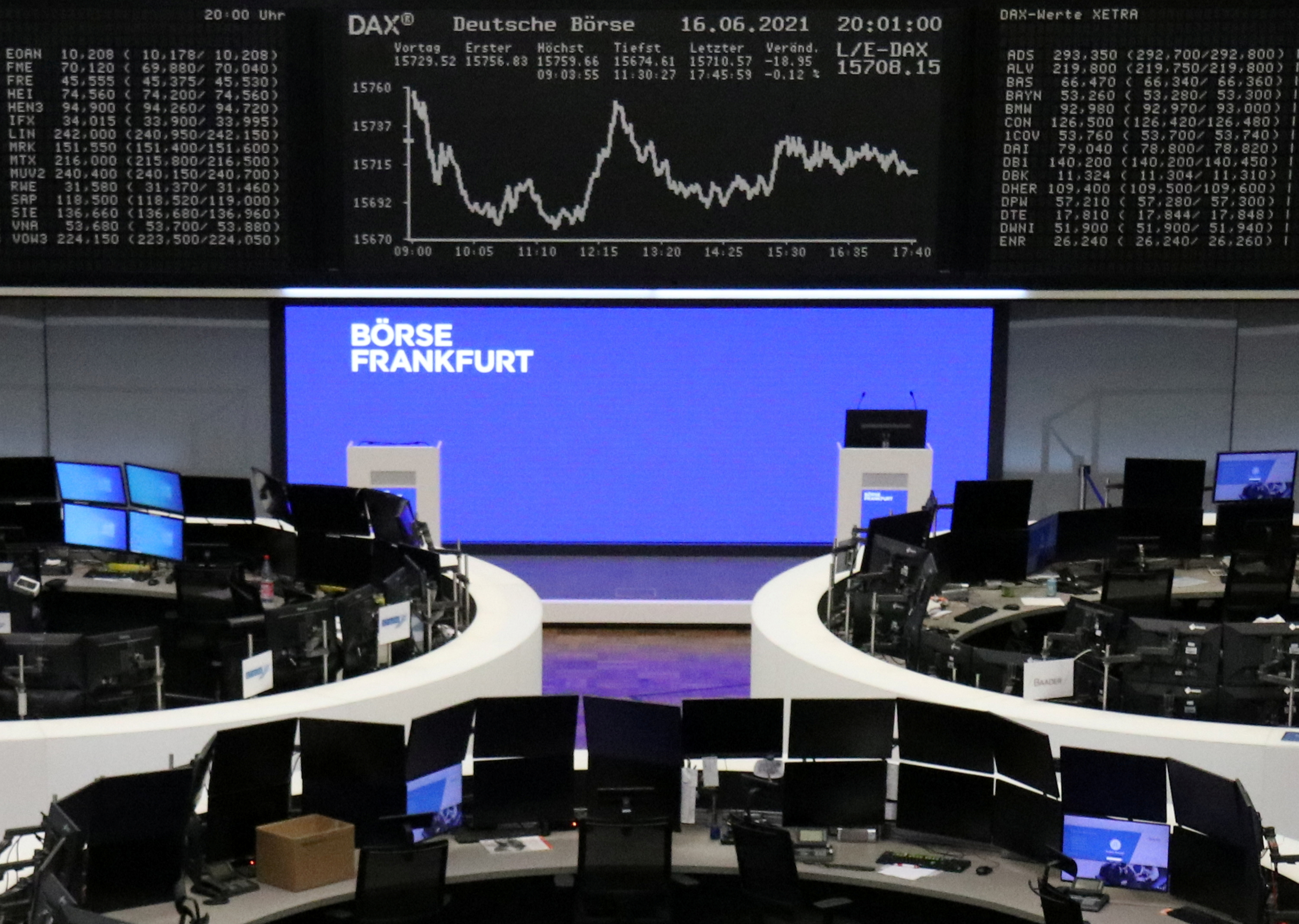 The German share price index DAX graph is pictured at the stock exchange in Frankfurt, Germany, June 16, 2021.    REUTERS/Staff