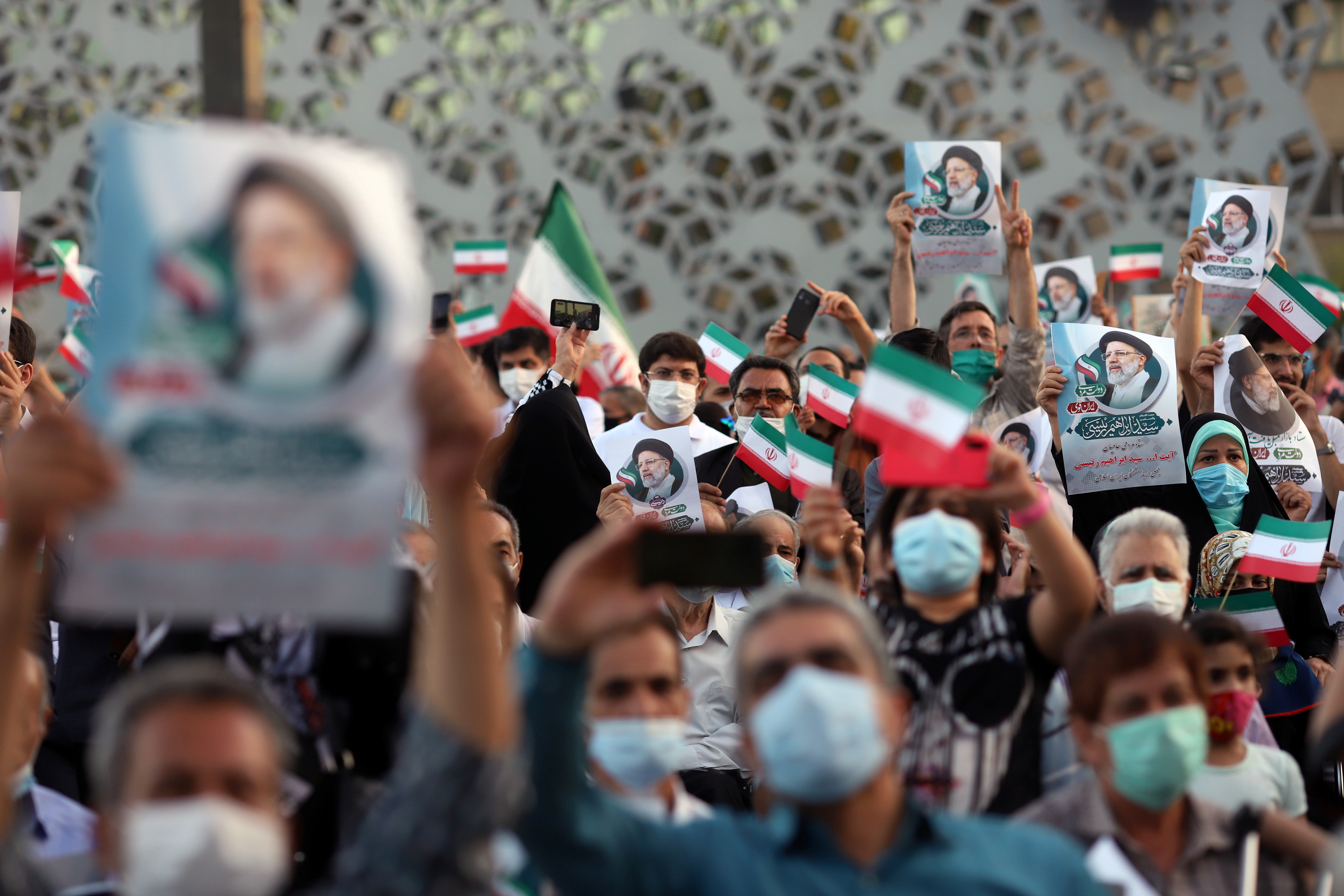 Supporters of Ebrahim Raisi celebrate his presidential election victory in Tehran, Iran June 19, 2021. Majid Asgaripour/WANA (West Asia News Agency) via REUTERS