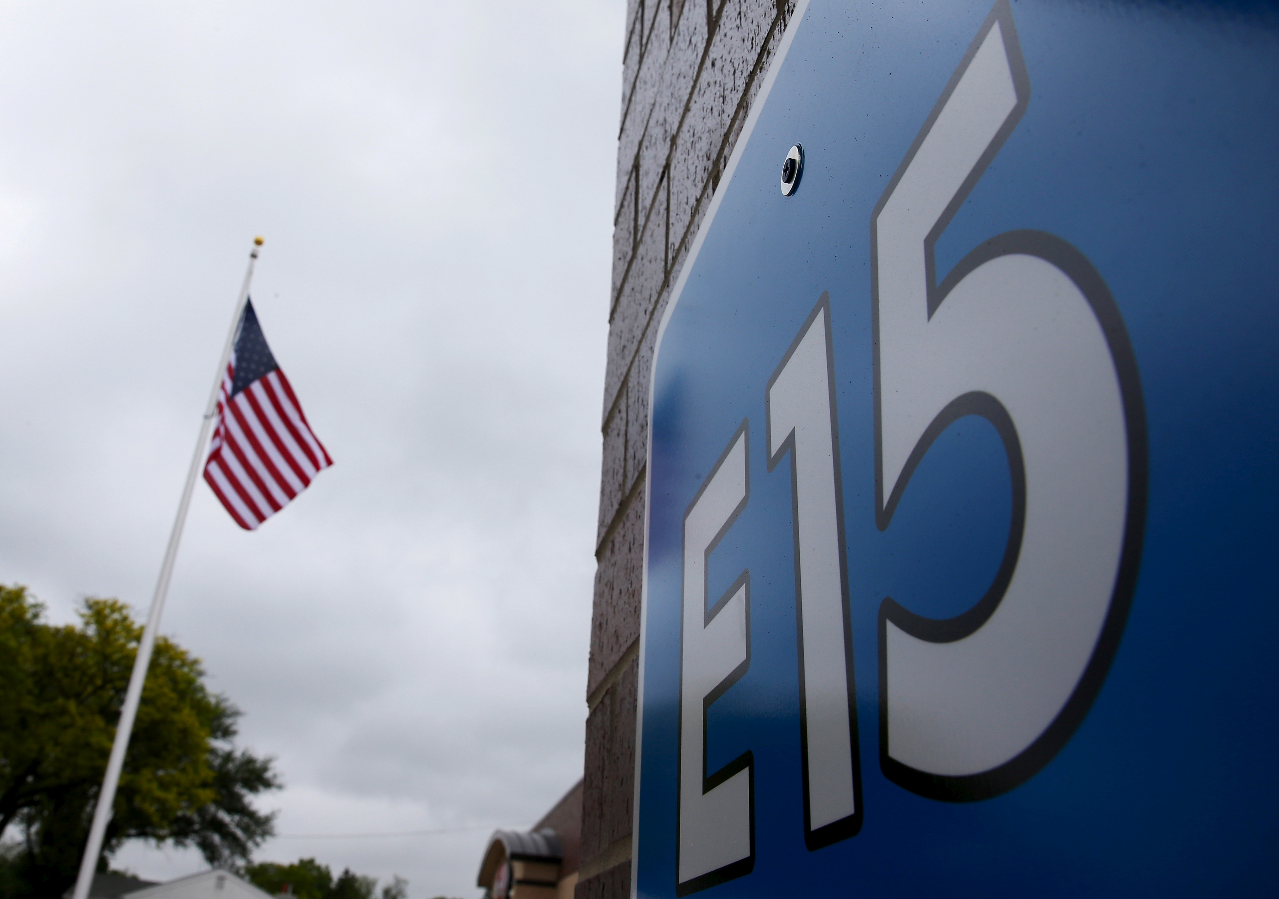 A sign advertising E15, a gasoline with 15% of ethanol, is seen at a gas station in Clive, Iowa, United States, May 17, 2015. REUTERS/Jim Young/File Photo