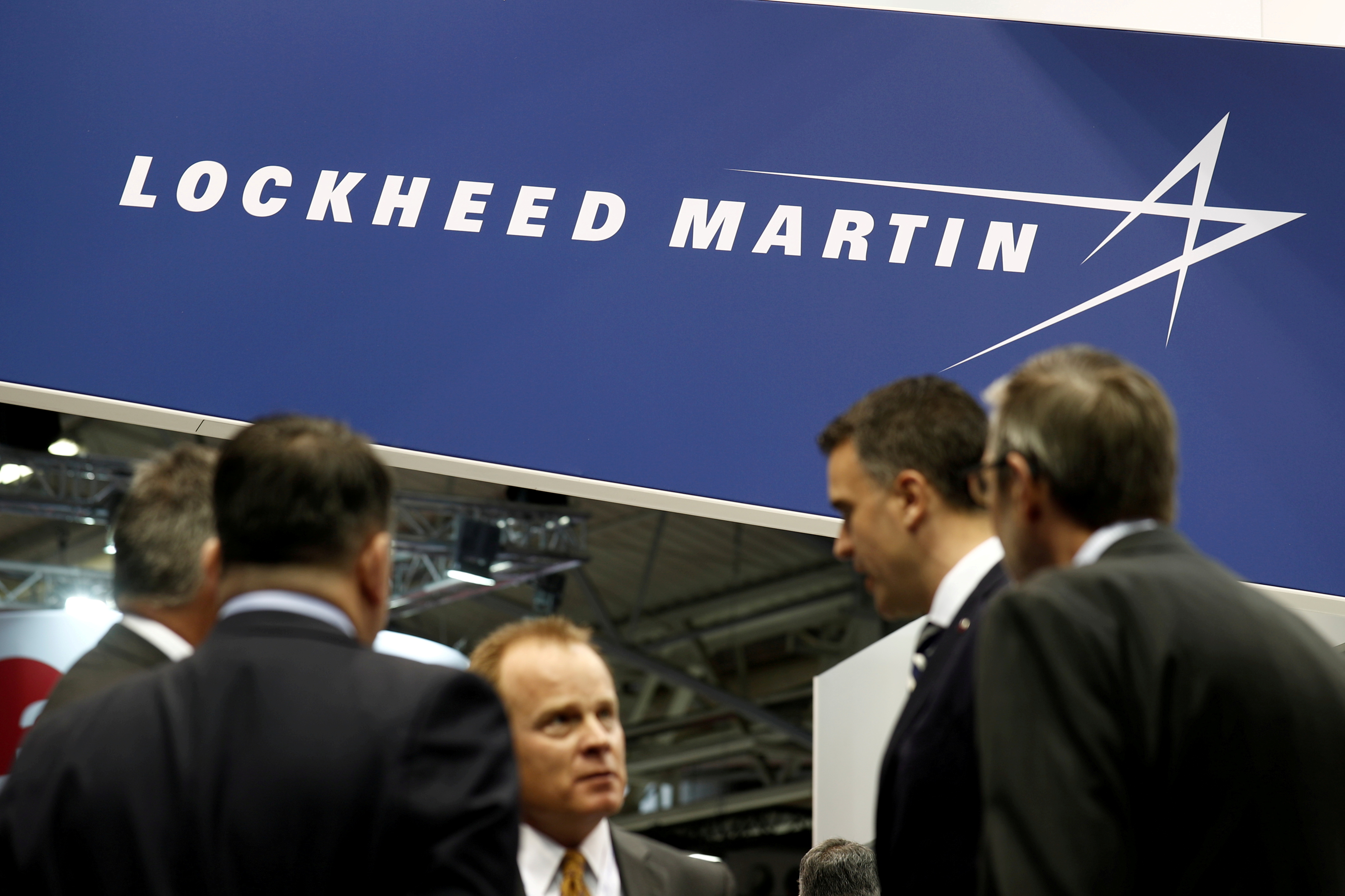 FILE PHOTO: The logo of Lockheed Martin is seen at Euronaval, the world naval defence exhibition in Le Bourget near Paris, France, October 23, 2018. REUTERS/Benoit Tessier/File Photo