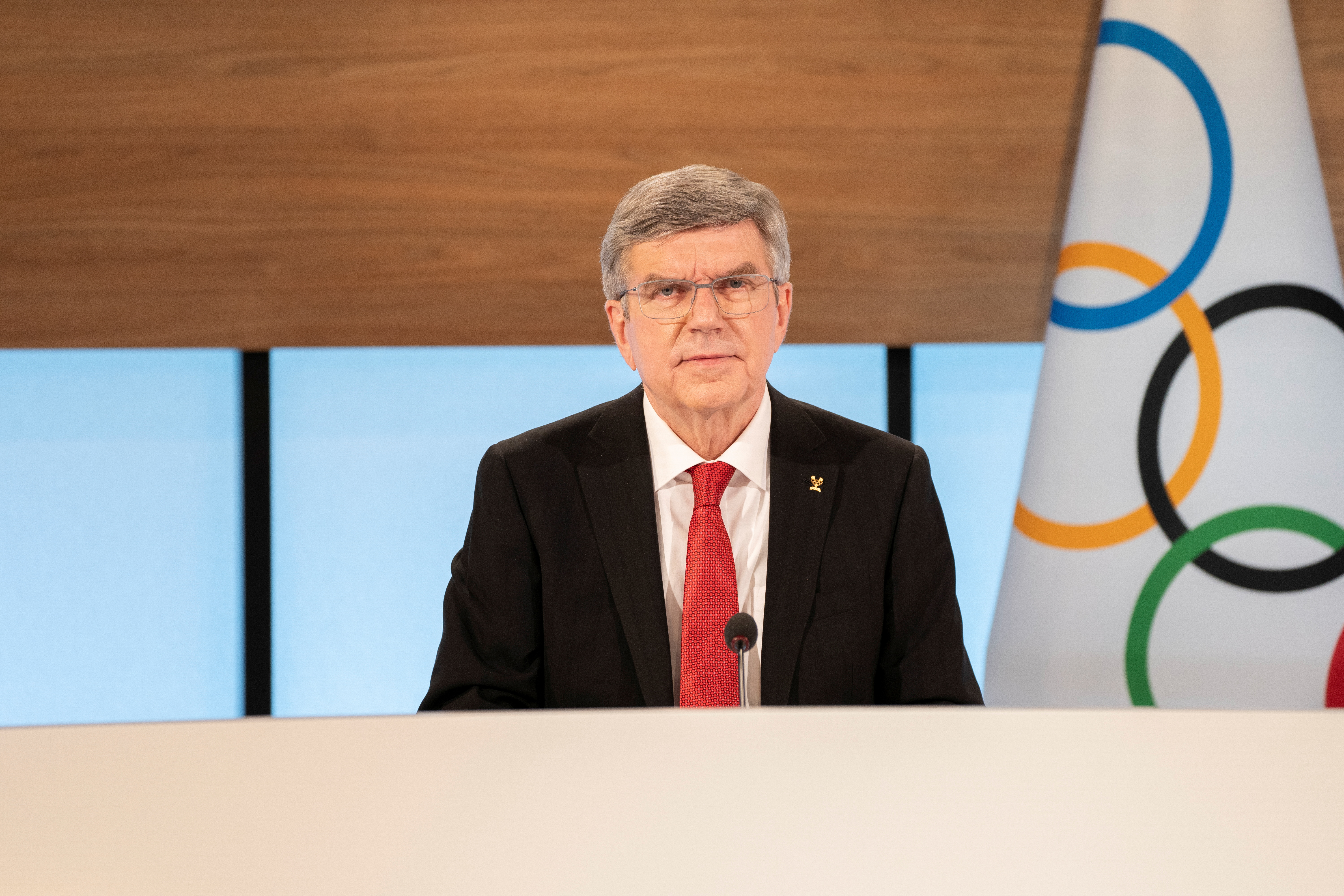 International Olympic Committee President Thomas Bach opens the 137th IOC Session and virtual meeting in Lausanne, Switzerland, March 10, 2021. Greg Martin/IOC/Handout via REUTERS