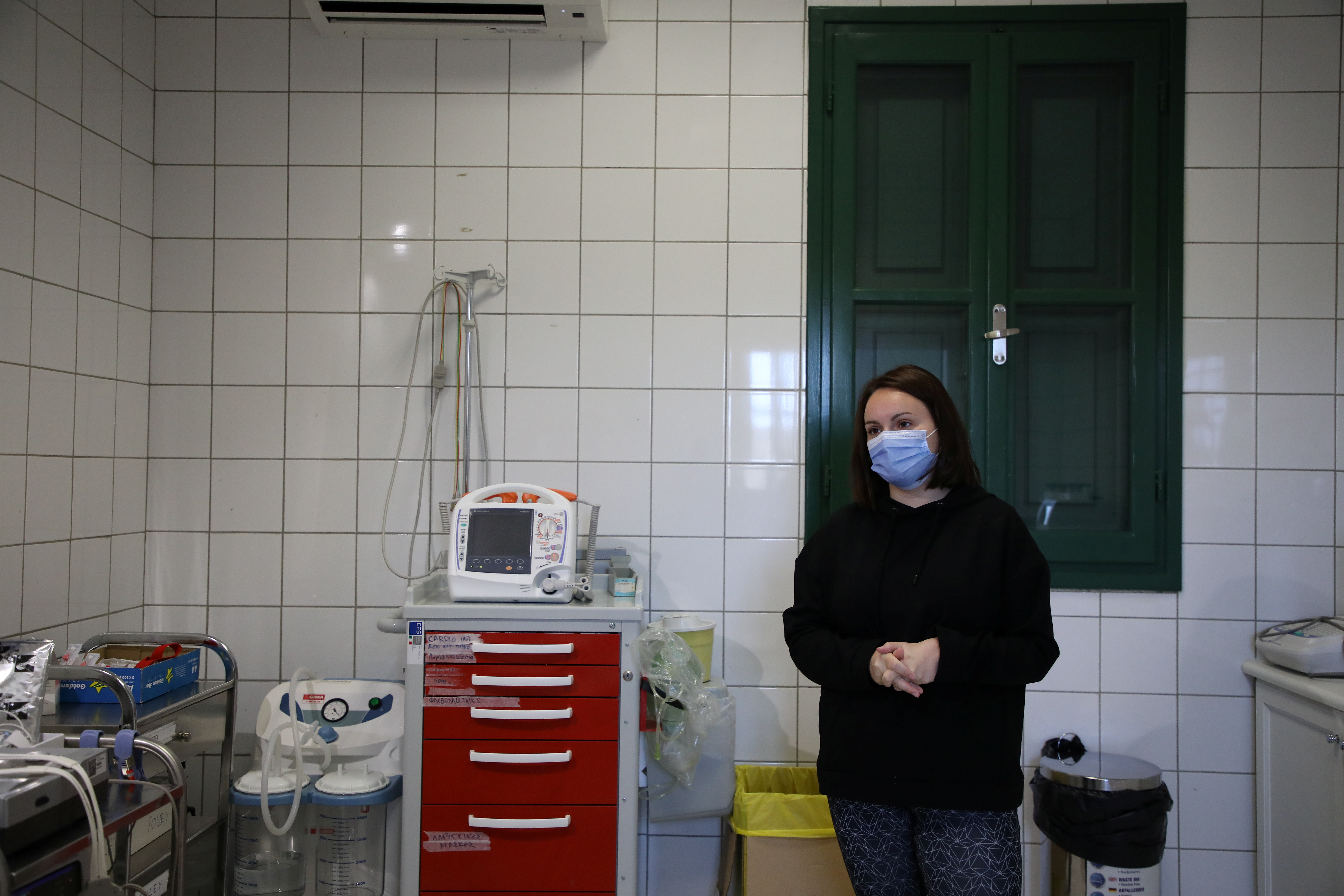 Athena Arvanitidou, Halki's only doctor, stands in the multi-clinic of the island, amid the coronavirus disease (COVID-19) pandemic, on the island of Halki, Greece, April 13, 2021. REUTERS/Louiza Vradi