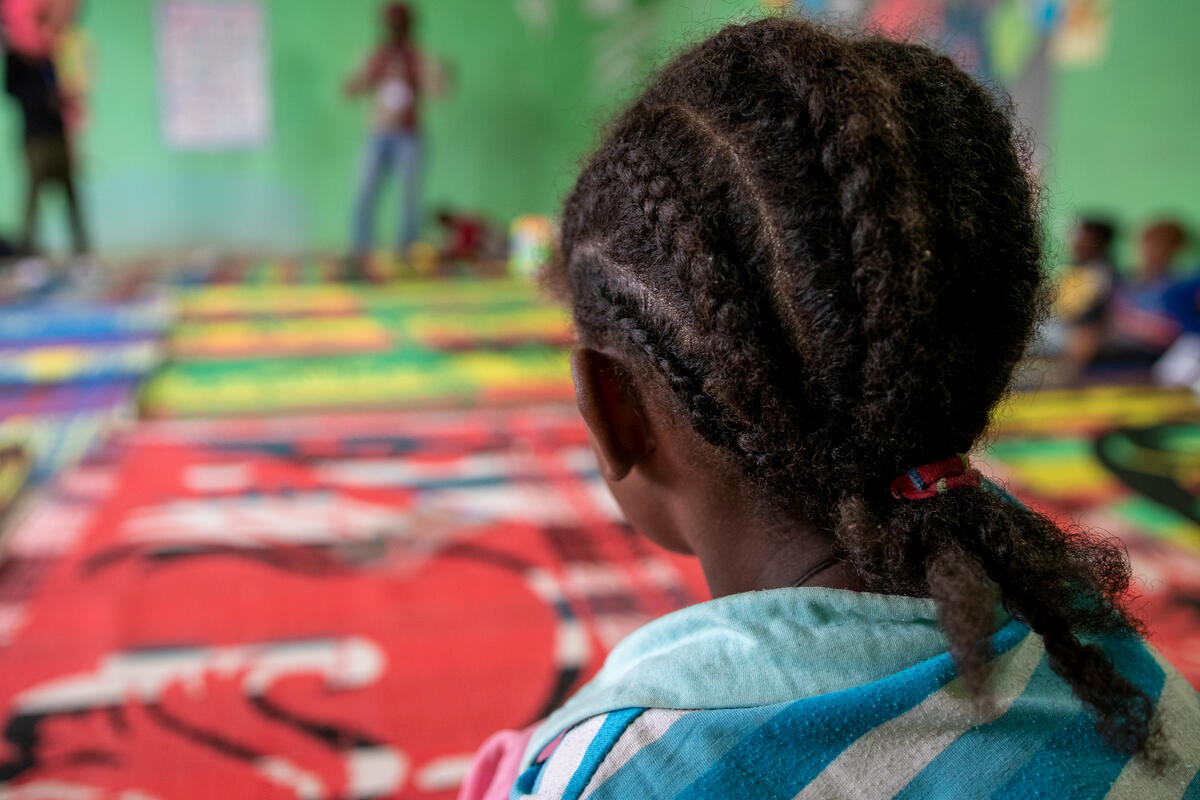 Eleven-year-old Arsema is seen at a Save the Children's Child Friendly Space in the informal camp in this picture taken April 13, 2021. Sacha Myers/Save the Children/Handout via REUTERS