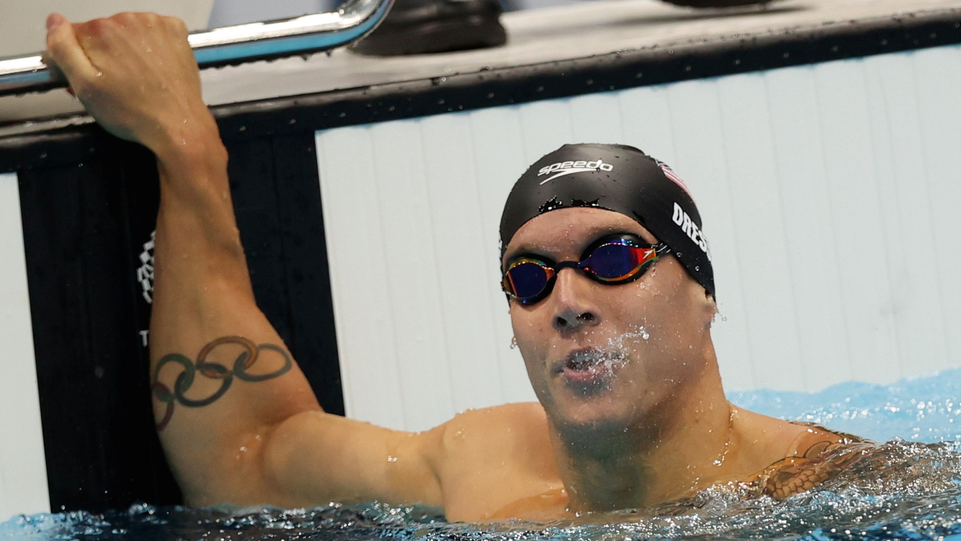 Tokyo 2020 Olympics - Swimming - Men's 100m Butterfly - Final - Tokyo Aquatics Centre - Tokyo, Japan - July 31, 2021. Caeleb Dressel of the United States reacts after setting a world record. REUTERS/Carl Recine