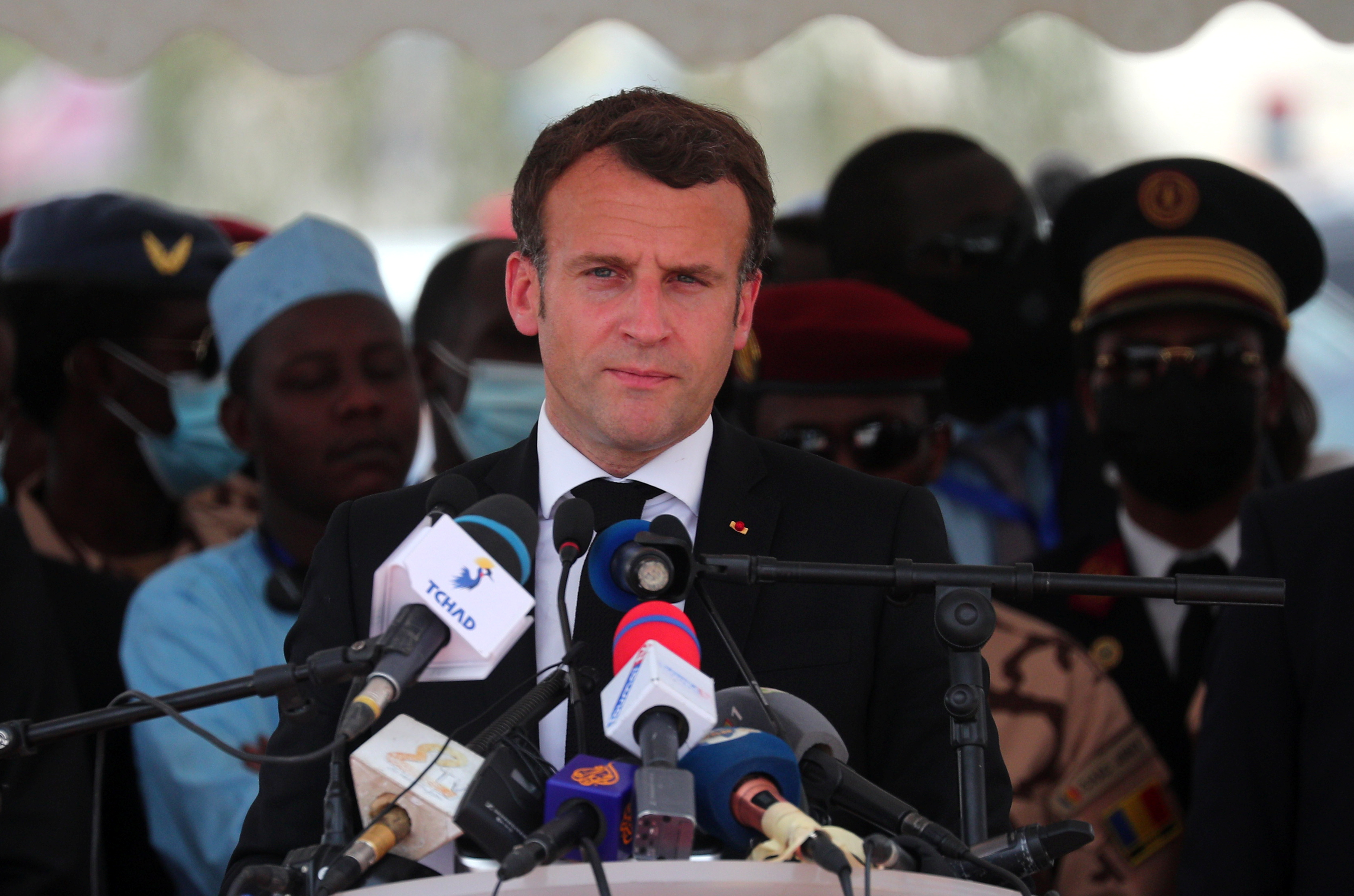 French President Emmanuel Macron delivers a speech during the state funeral for the late Chadian President Idriss Deby in N'Djamena, Chad April 23, 2021. Christophe Petit Tesson/Pool via REUTERS