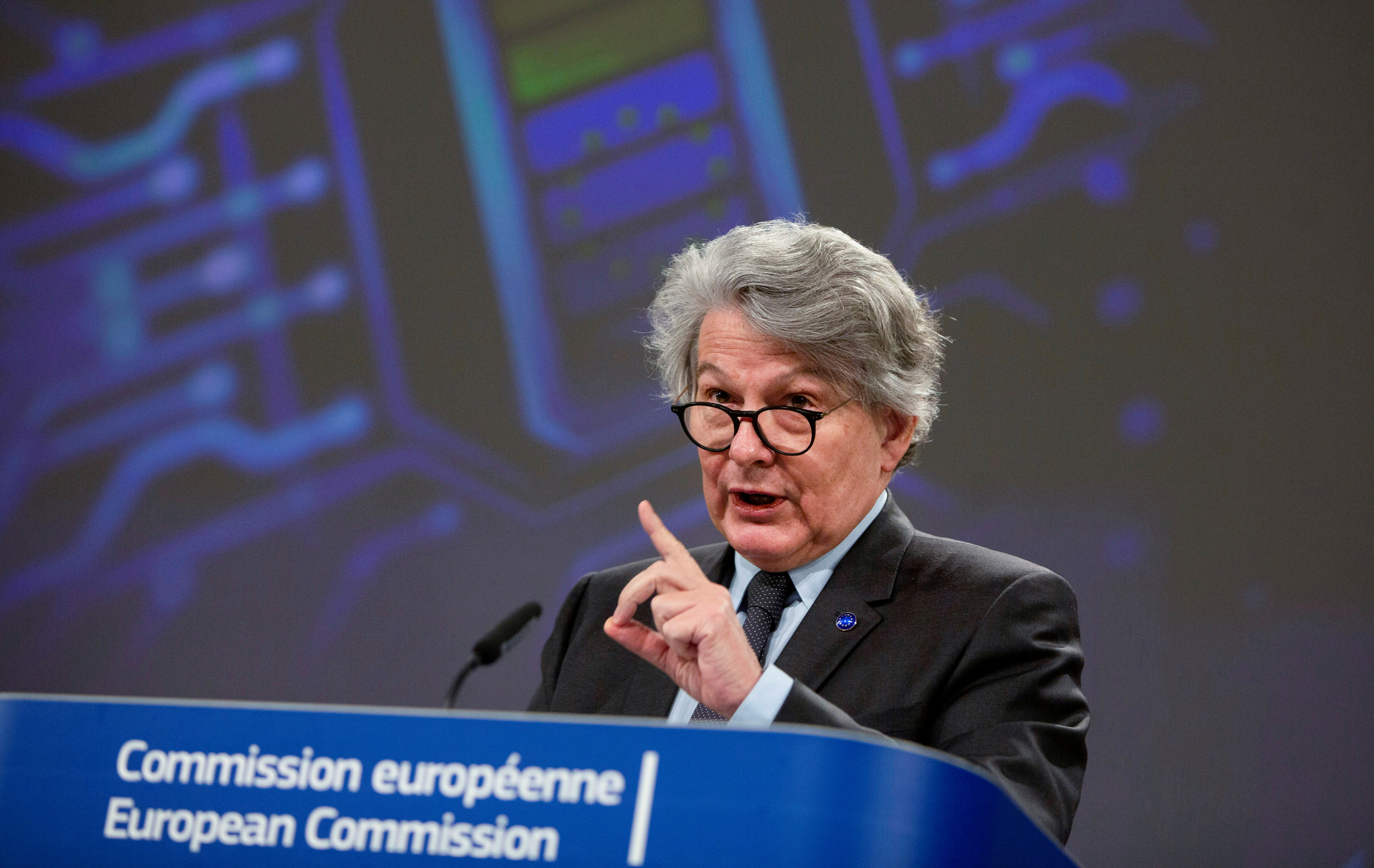 European Commissioner for Internal Market Thierry Breton speaks during a news conference regarding the European Battery Alliance at EU headquarters in Brussels, Belgium March 12, 2021. Virginia Mayo/Pool via REUTERS