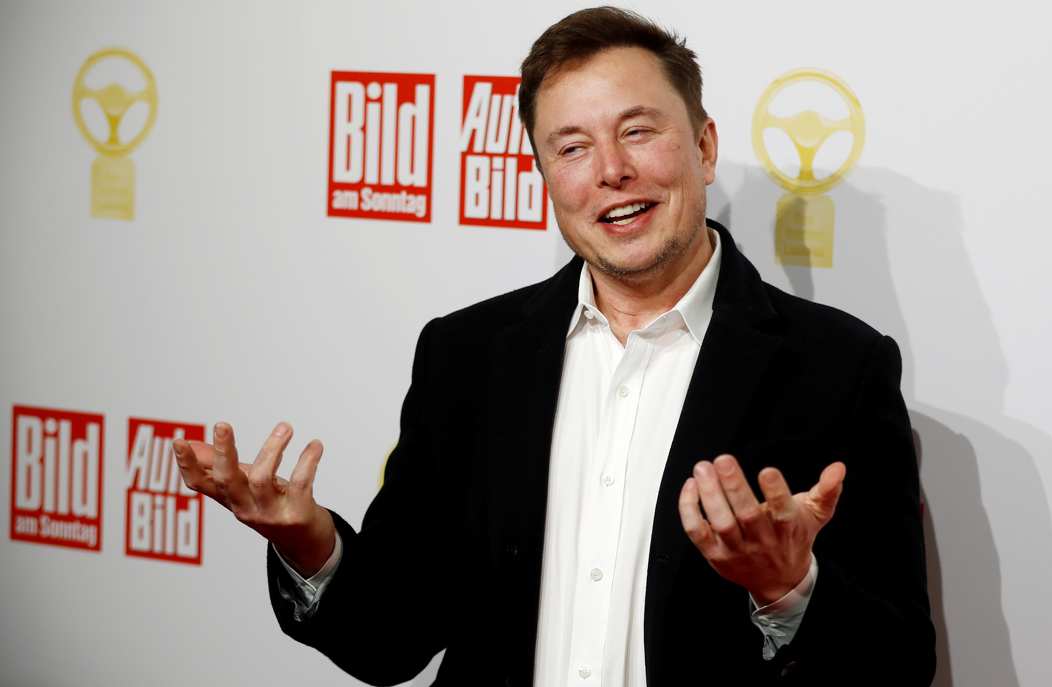 SpaceX owner and Tesla CEO Elon Musk arrives on the red carpet for the automobile awards