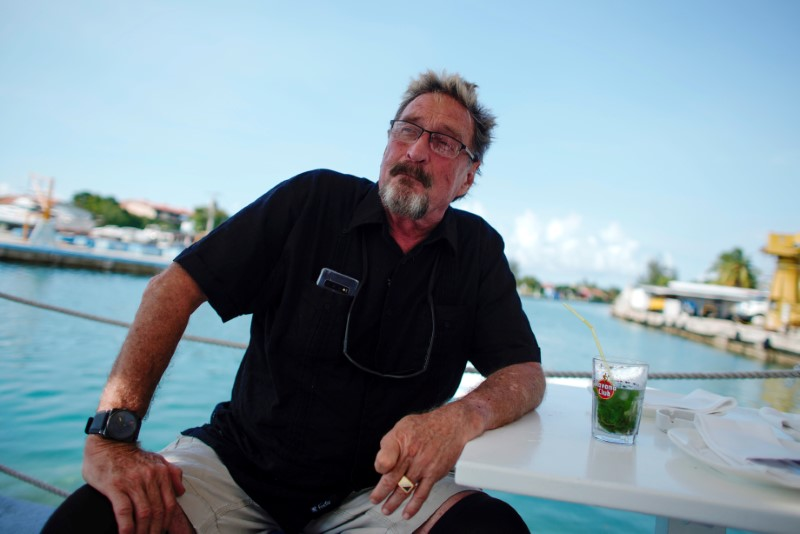 John McAfee, co-founder of McAfee Crypto Team and CEO of Luxcore and founder of McAfee Antivirus, speaks during an interview in Havana, Cuba, July 4, 2019. Picture taken July 4, 2019. REUTERS/Alexandre Meneghini/File Photo