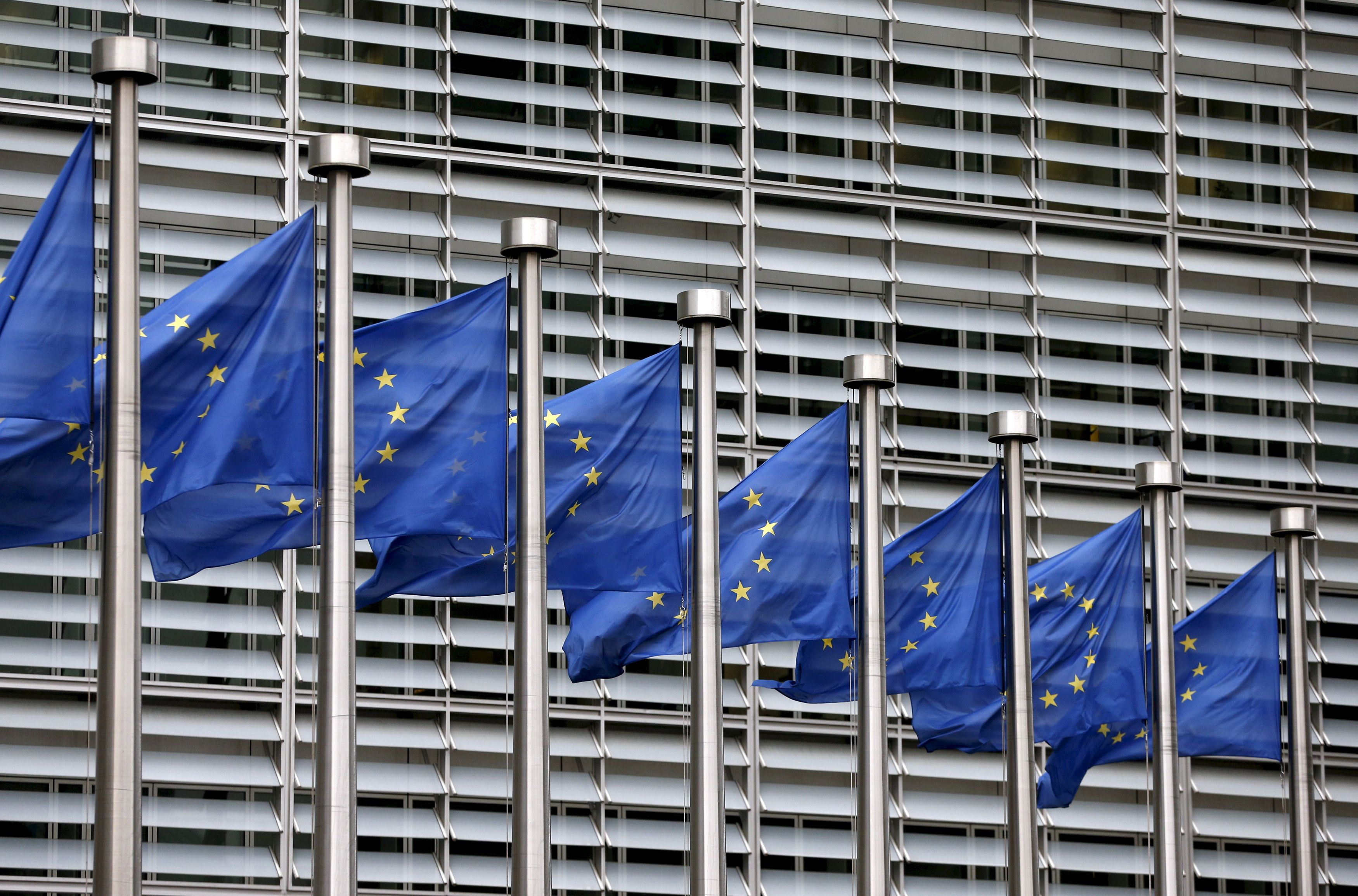 European Union flags flutter outside the EU Commission headquarters in Brussels, Belgium, in this file picture taken October 28, 2015. REUTERS/Francois Lenoir