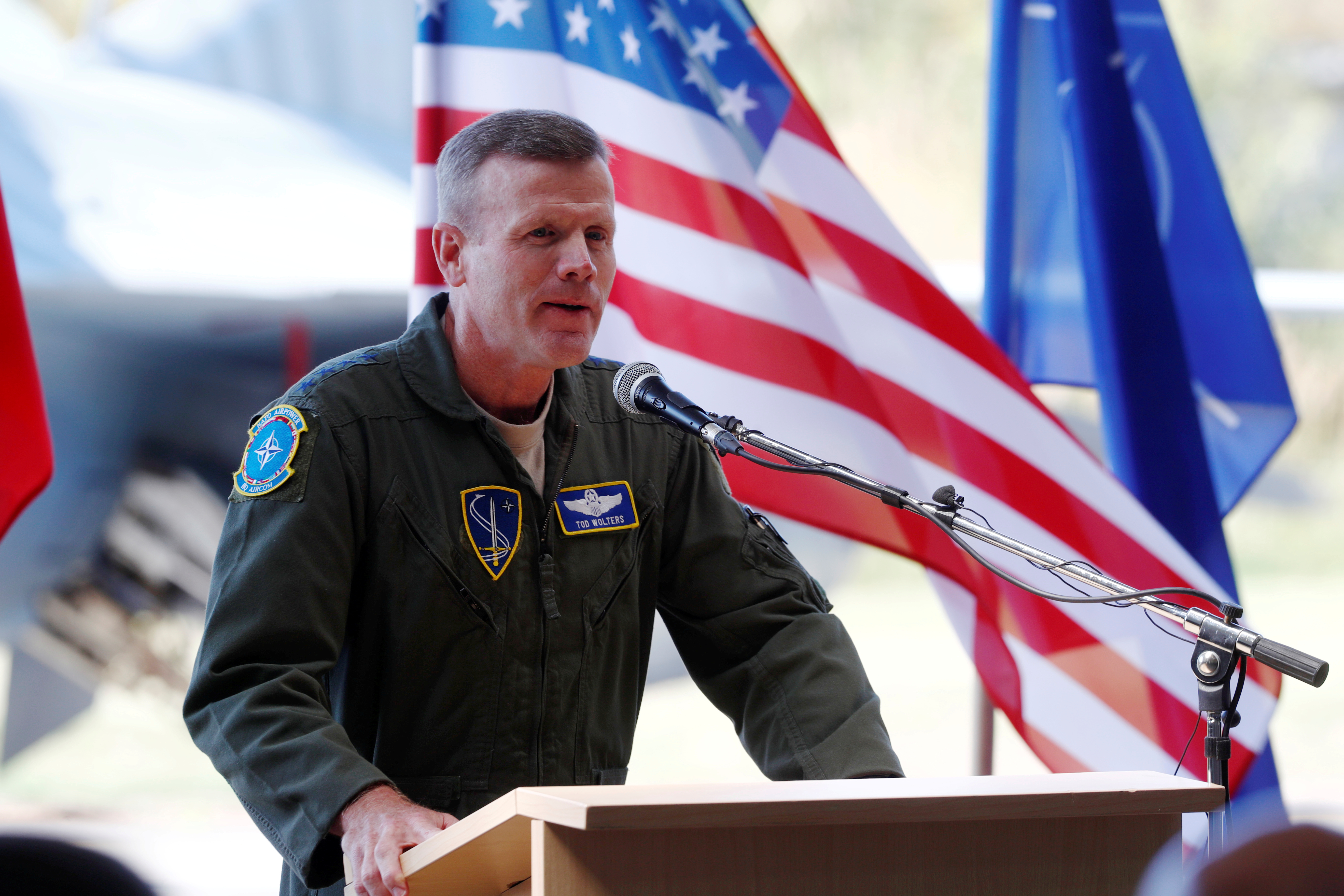 General Tod Wolters, then commander of U.S. Air Forces in Europe, speaks during NATO Baltic air policing mission takeover ceremony in Siauliai, Lithuania August 30, 2017. REUTERS/Ints Kalnins