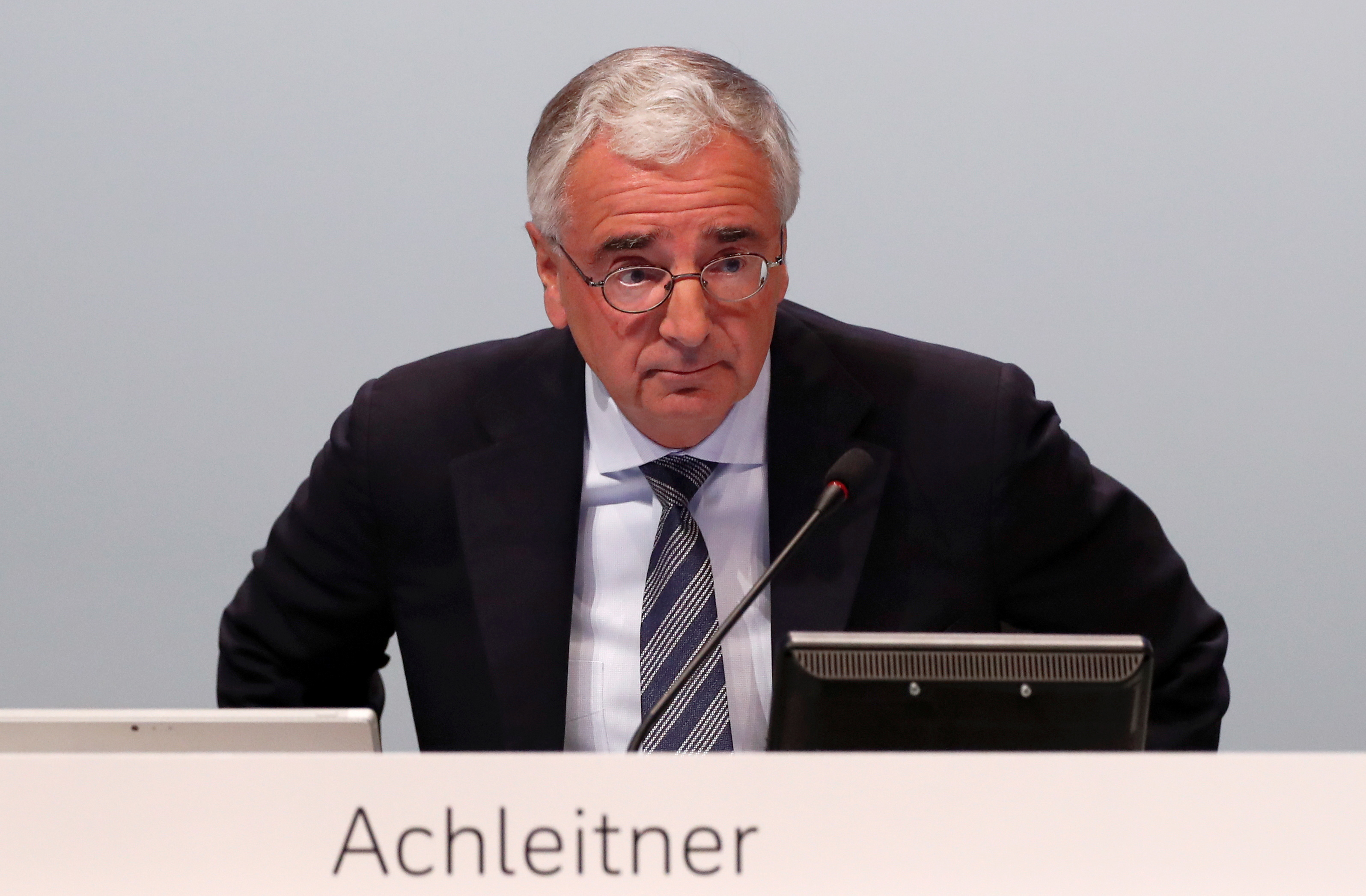 Chairman of the board Paul Achleitner attends the annual shareholder meeting of Germany's largest business bank, Deutsche Bank, in Frankfurt, Germany, May 23, 2019. REUTERS/Kai Pfaffenbach/File Photo