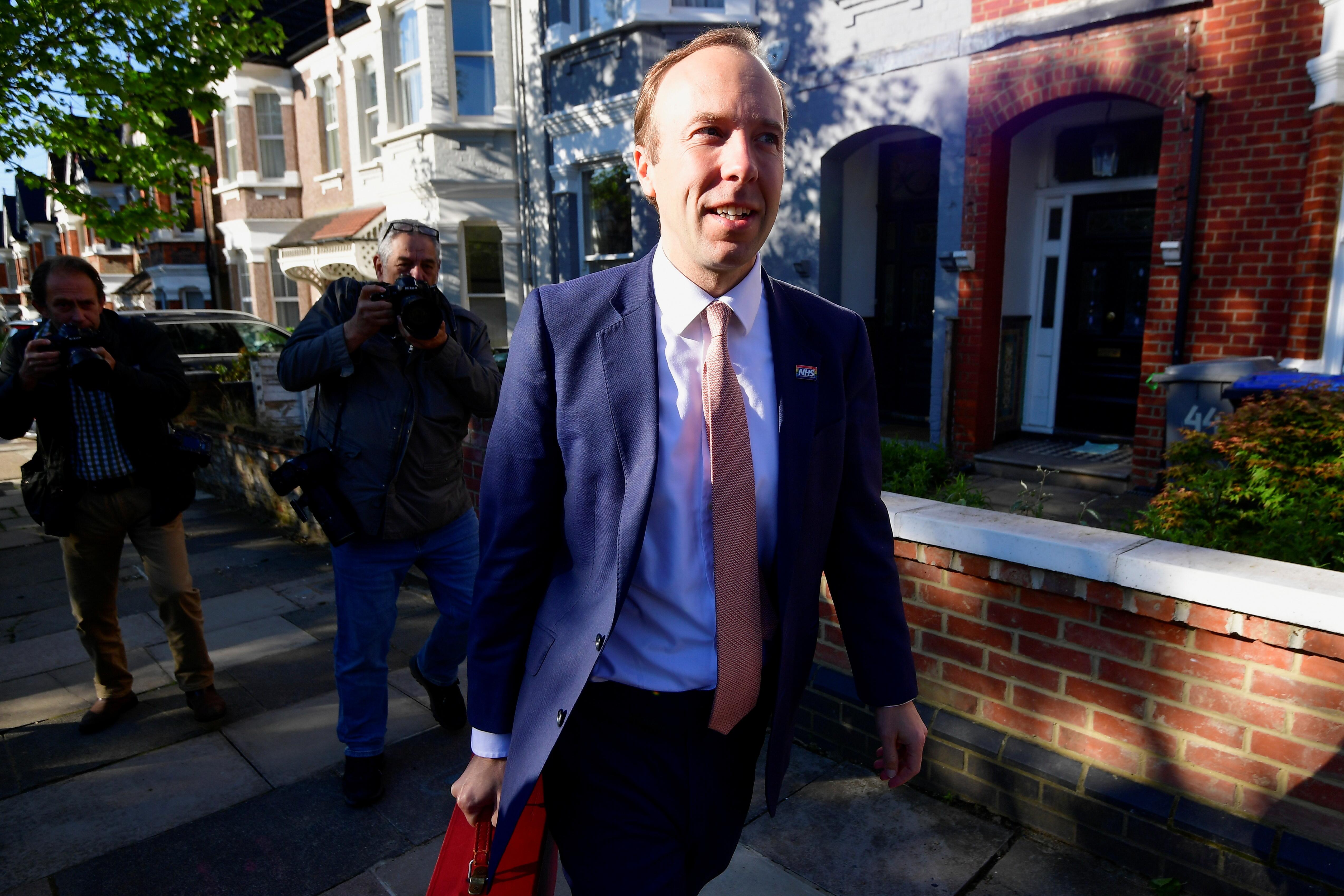 Britain's Health Secretary Matt Hancock leaves his house, in London, Britain May 27, 2021. REUTERS/Toby Melville