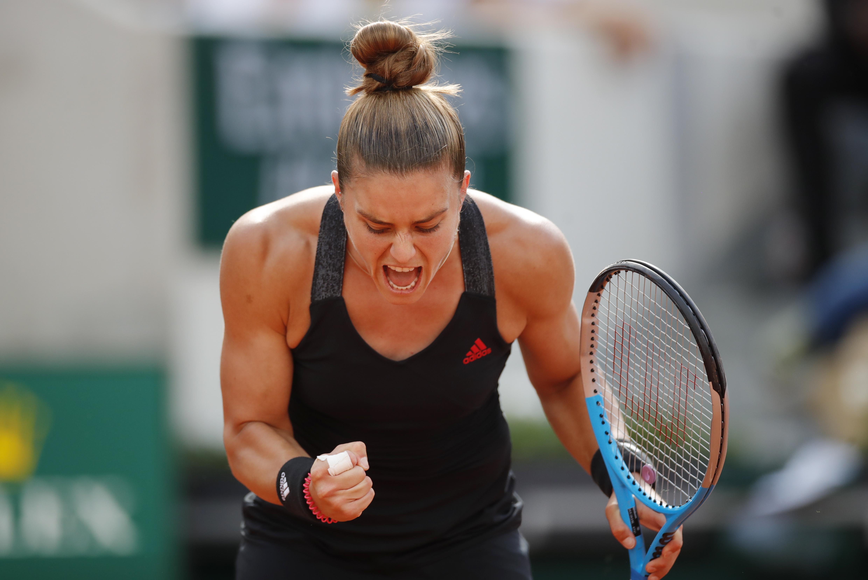 Tennis - French Open - Roland Garros, Paris, France - June 7, 2021 Greece's Maria Sakkari celebrates after winning her fourth round match against Sofia Kenin of the U.S. REUTERS/Sarah Meyssonnier