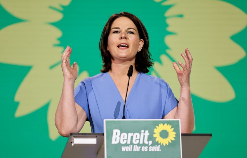 Annalena Baerbock, Germany's Green party co-leader and top candidate for the upcoming national election speaks at her party's digital federal delegate conference in Berlin, Germany, June 13, 2021. REUTERS/Axel Schmidt/Pool/File Photo