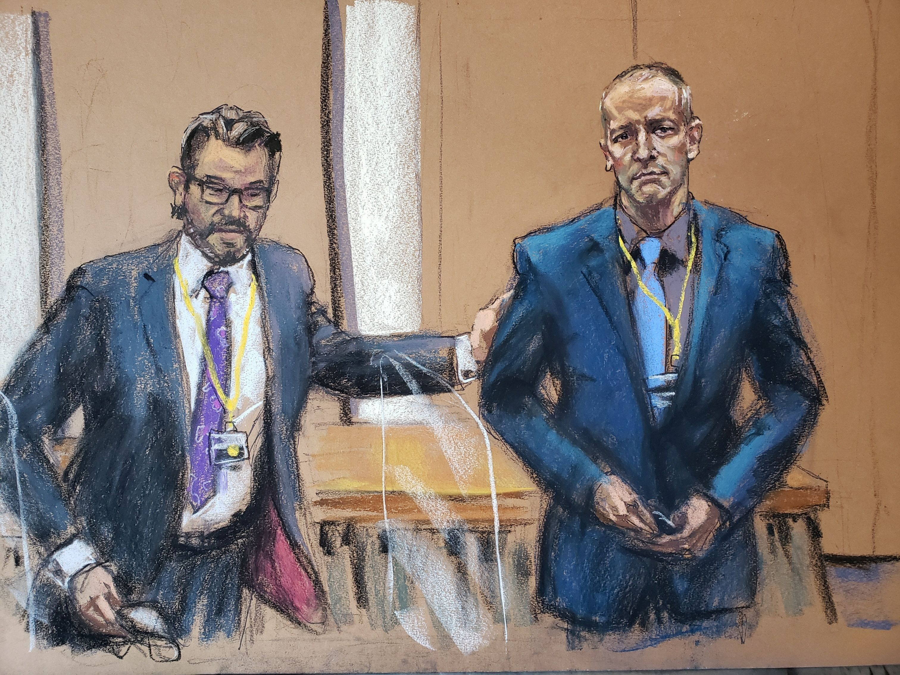 Defense attorney Eric Nelson introduces Derek Chauvin, the former Minneapolis police officer facing murder charges in the death of George Floyd, to potential jurors during jury selection in his trial in Minneapolis, Minnesota, U.S., March 15, 2021 in this courtroom sketch from a video feed of the proceedings. REUTERS/Jane Rosenberg