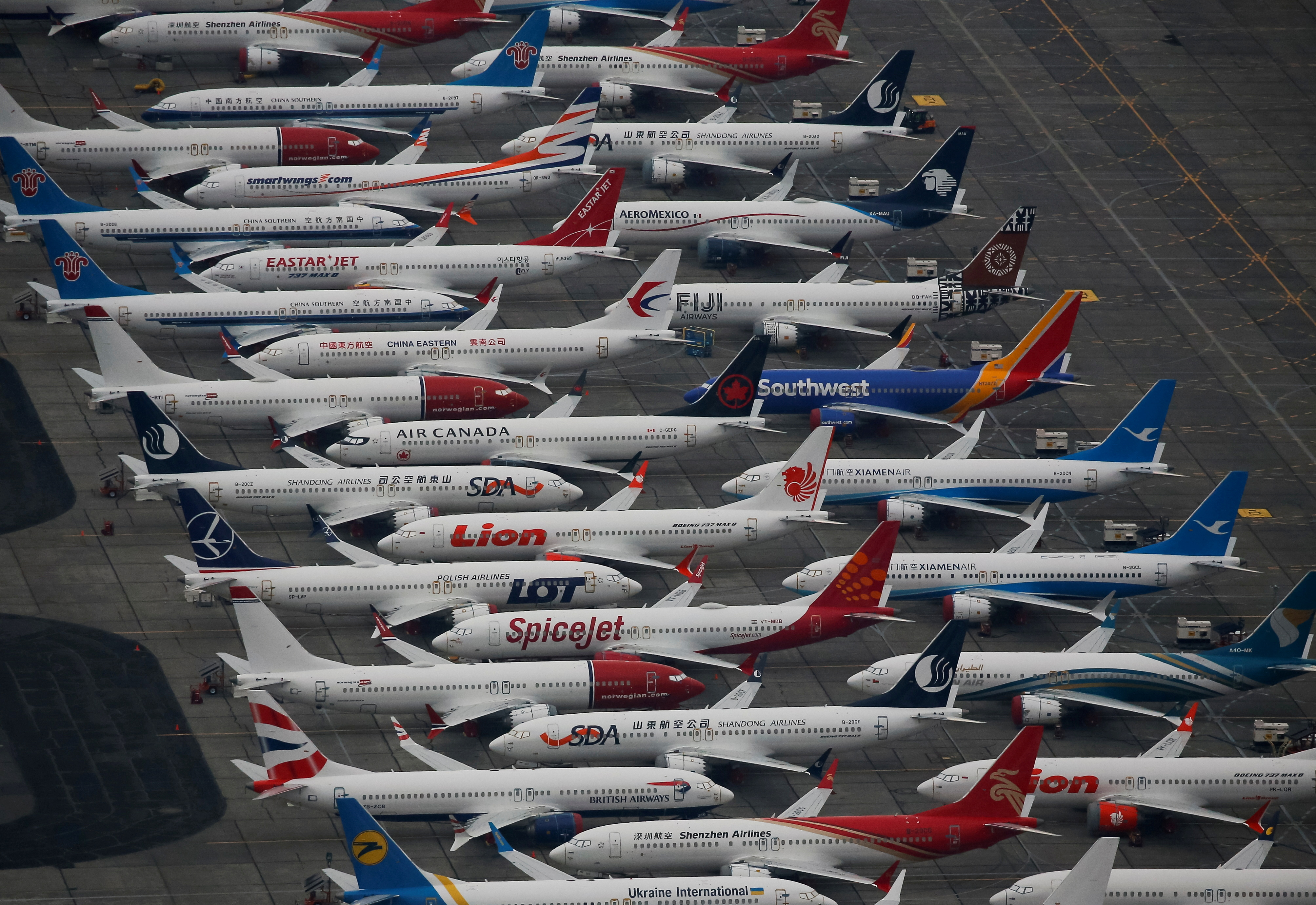 Dozens of grounded Boeing 737 MAX aircraft are seen parked at Grant County International Airport in Moses Lake, Washington, U.S. November 17, 2020.  REUTERS/Lindsey Wasson