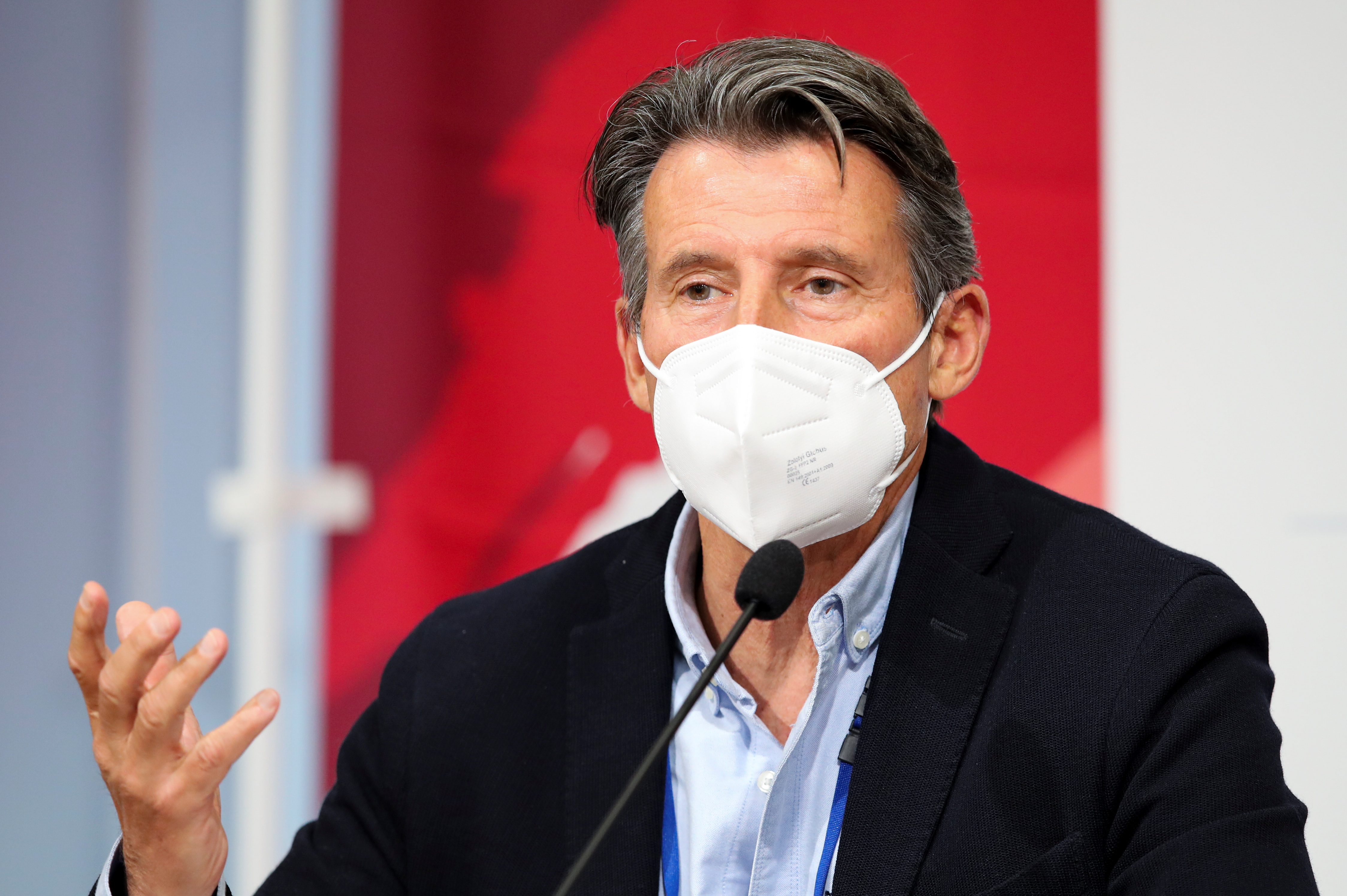 World Athletics President Sebastian Coe speaks to media at the Olympic Stadium during the Athletics test event for Tokyo 2020 Olympic Games in Tokyo, Japan May 9, 2021. REUTERS/Kim Kyung-Hoon
