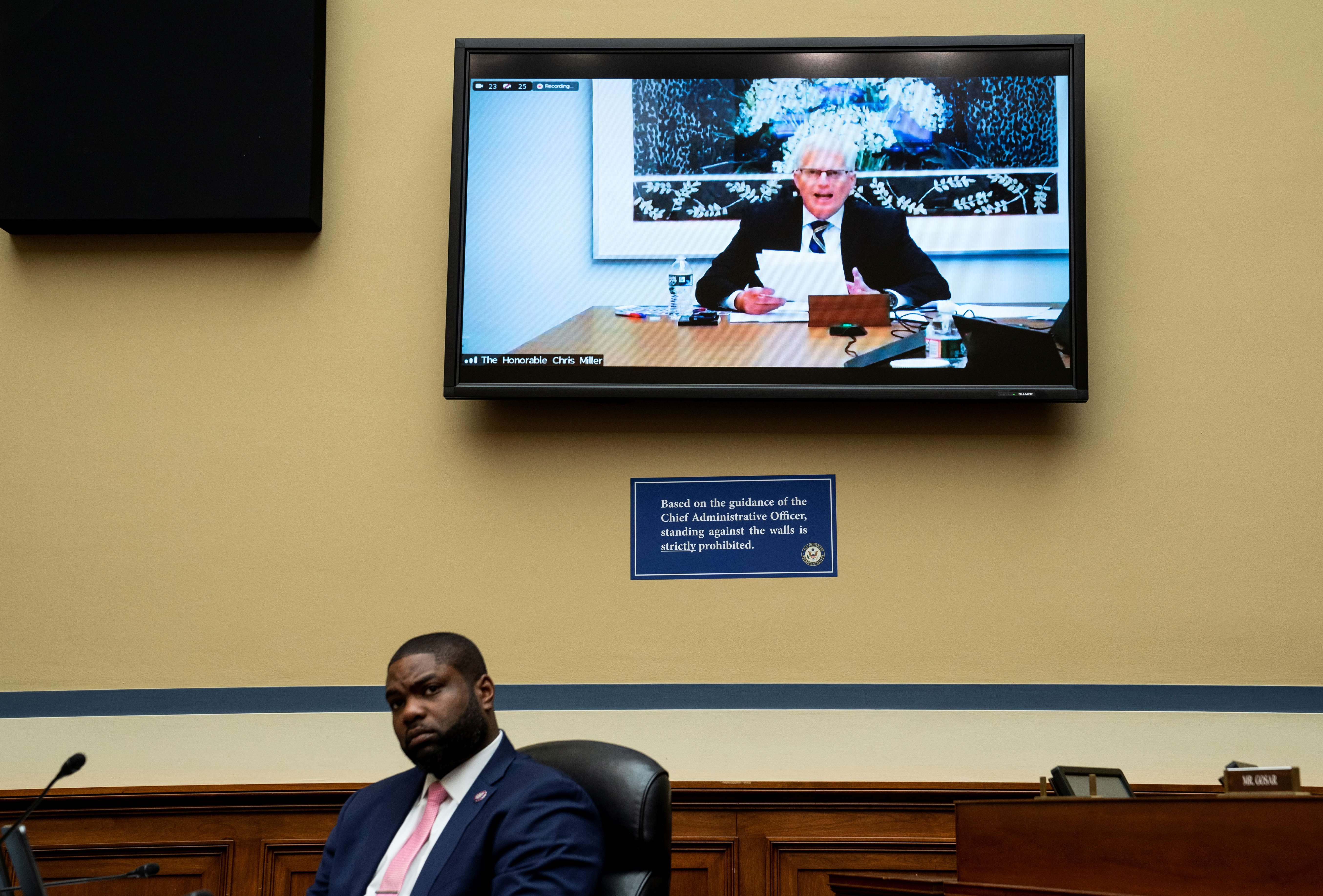 Rep. Byron Donalds, (R-FL) listens as former acting Secretary of Defense Christopher Miller testifies during a House Oversight and Reform Committee hearing titled