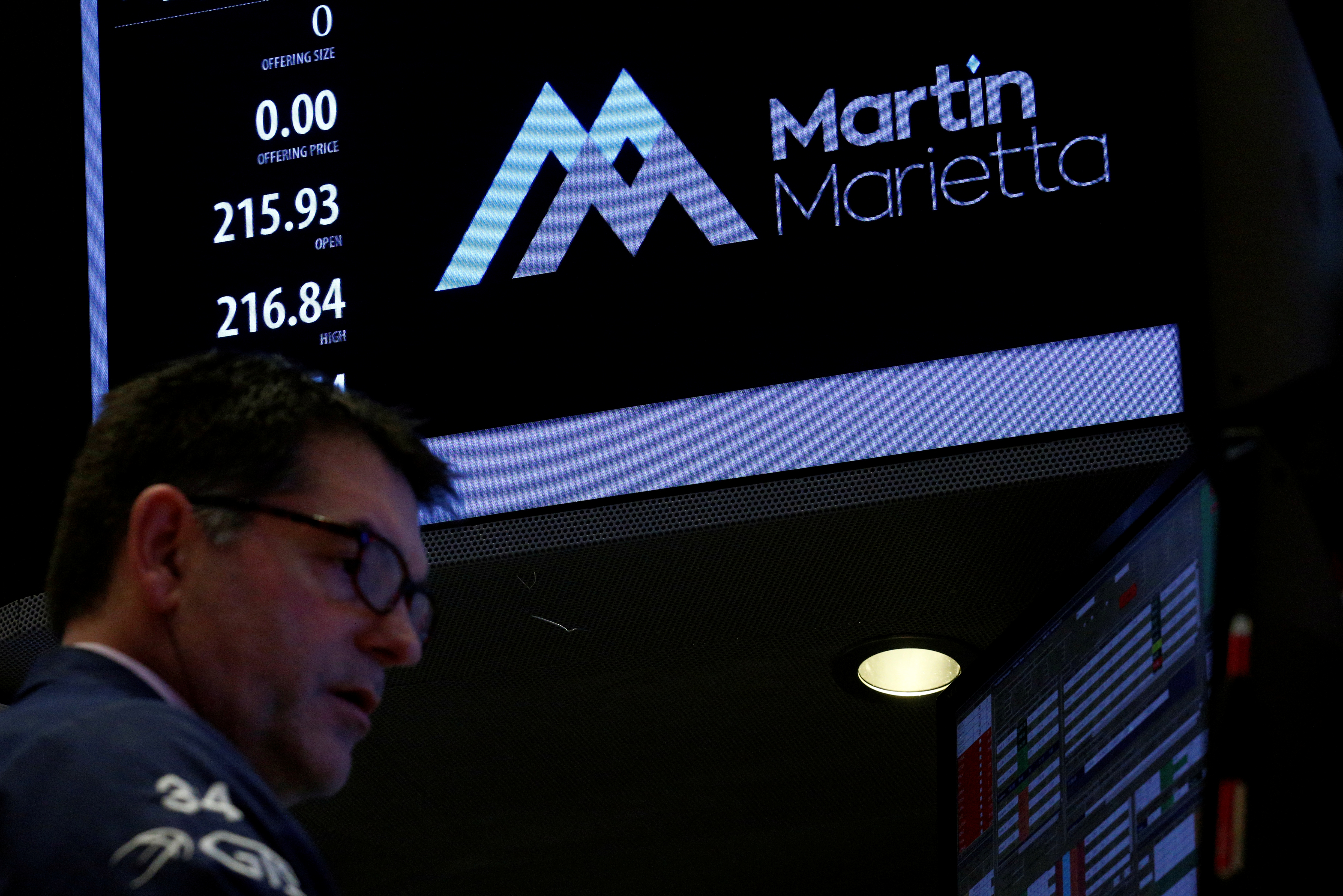 A specialist trader works at the post where Martin Marietta Materials is traded on the floor of the New York Stock Exchange (NYSE) in New York, U.S., March 6, 2017. REUTERS/Brendan McDermid