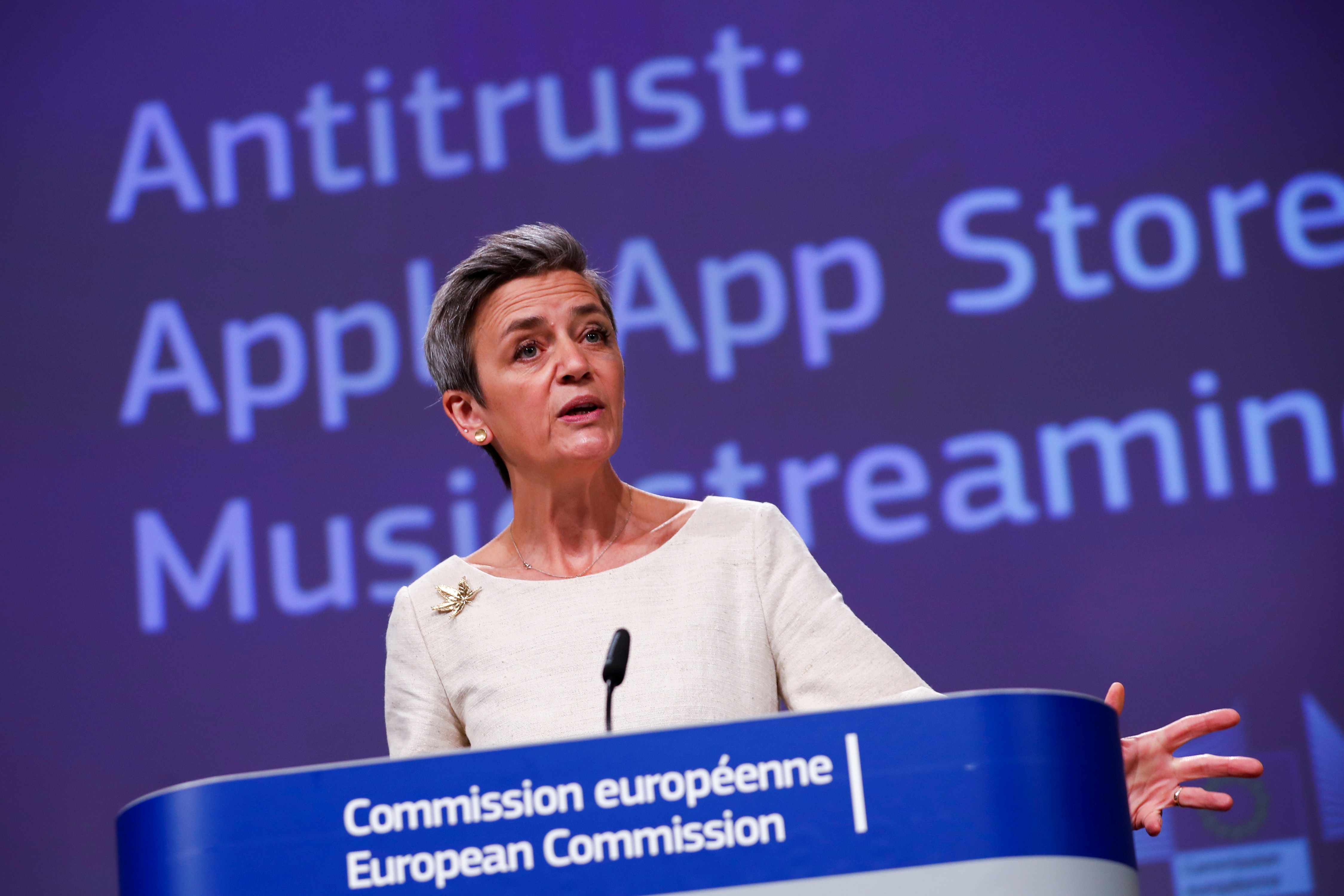 European Commissioner for Europe fit for the Digital Age Margrethe Vestager speaks during an online news conference on Apple anti trust case at the EU headquarters in Brussels, Belgium April 30, 2021. Francisco Seco/Pool via REUTERS