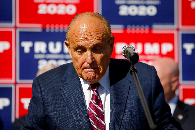 Former New York City Mayor Rudy Giuliani, then-personal attorney to U.S. President Donald Trump, speaks in Philadelphia, Pennsylvania, U.S., November 7, 2020. REUTERS/Eduardo Munoz