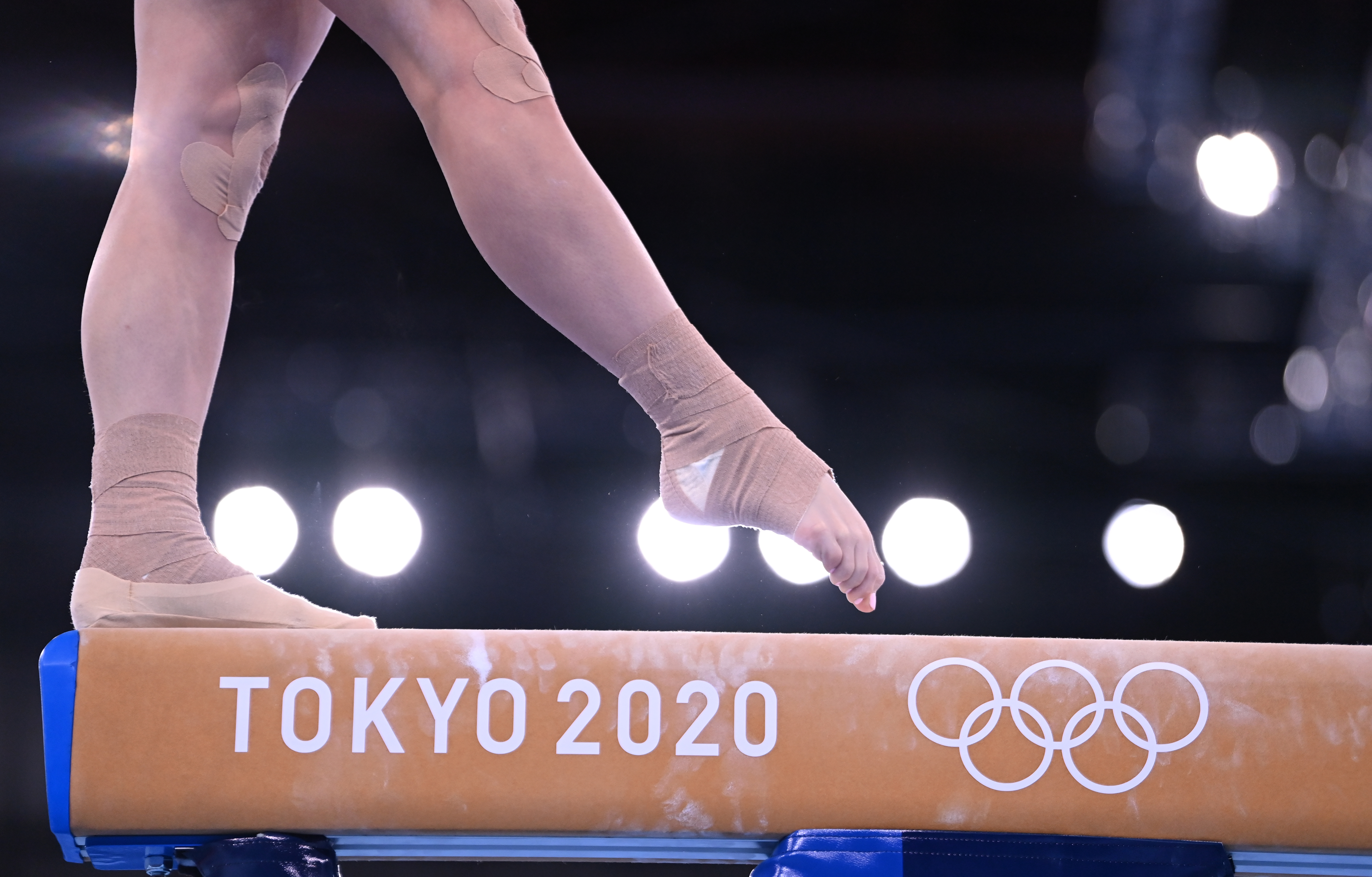 Tokyo 2020 Olympics - Gymnastics Artistic Training - Ariake Gymnastics Centre, Tokyo, Japan - July 22, 2021 A Russian Olympic Committee gymnast on the balance beam during training REUTERS/Dylan Martinez
